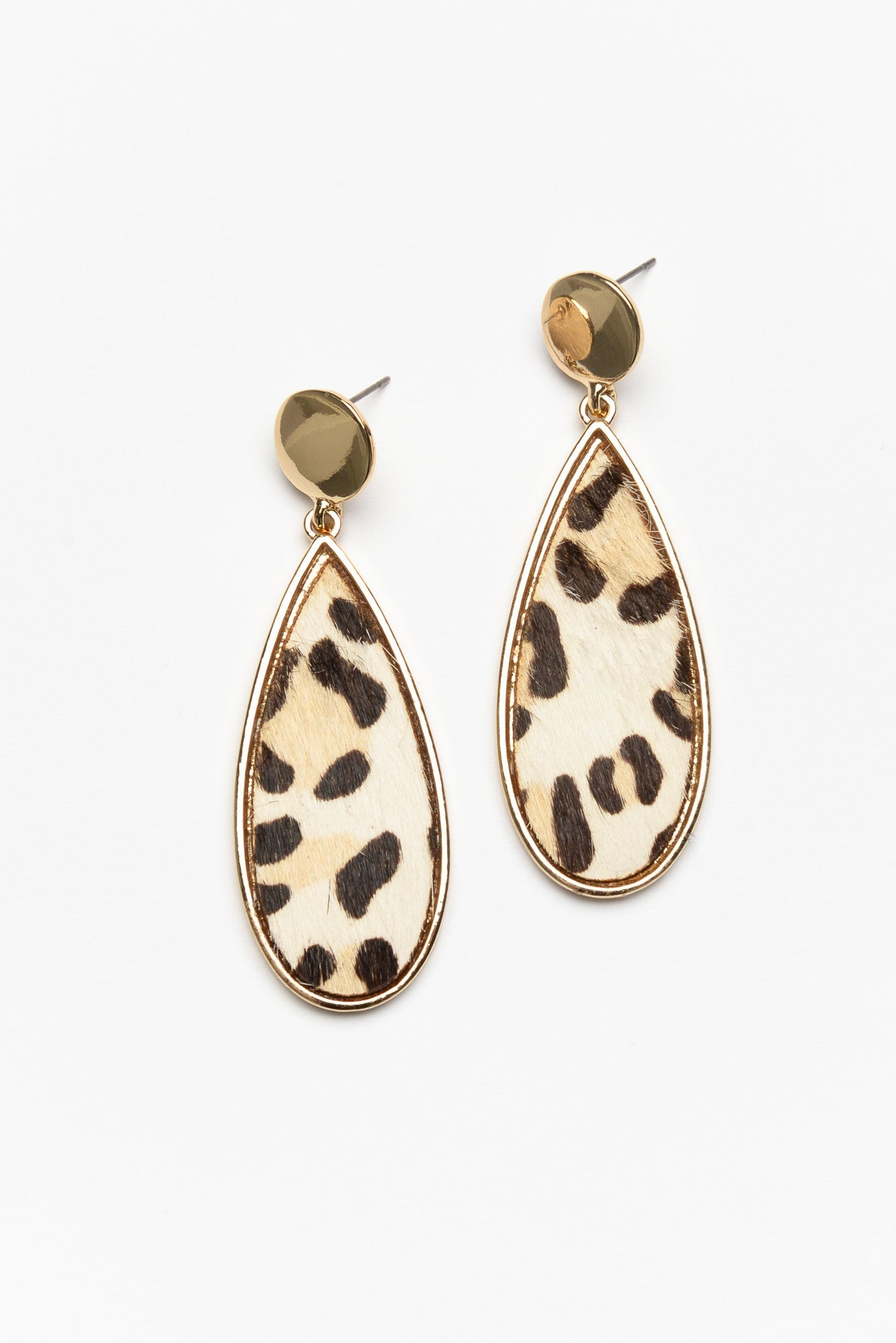 Cream Leopard Teardrop Earring