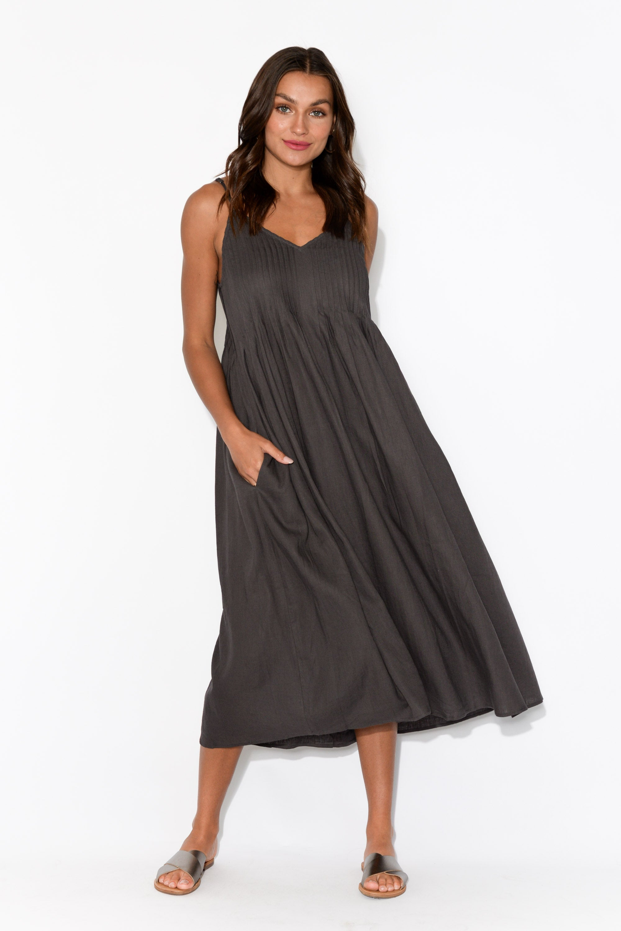 Cuban Charcoal Sleeveless Maxi Dress
