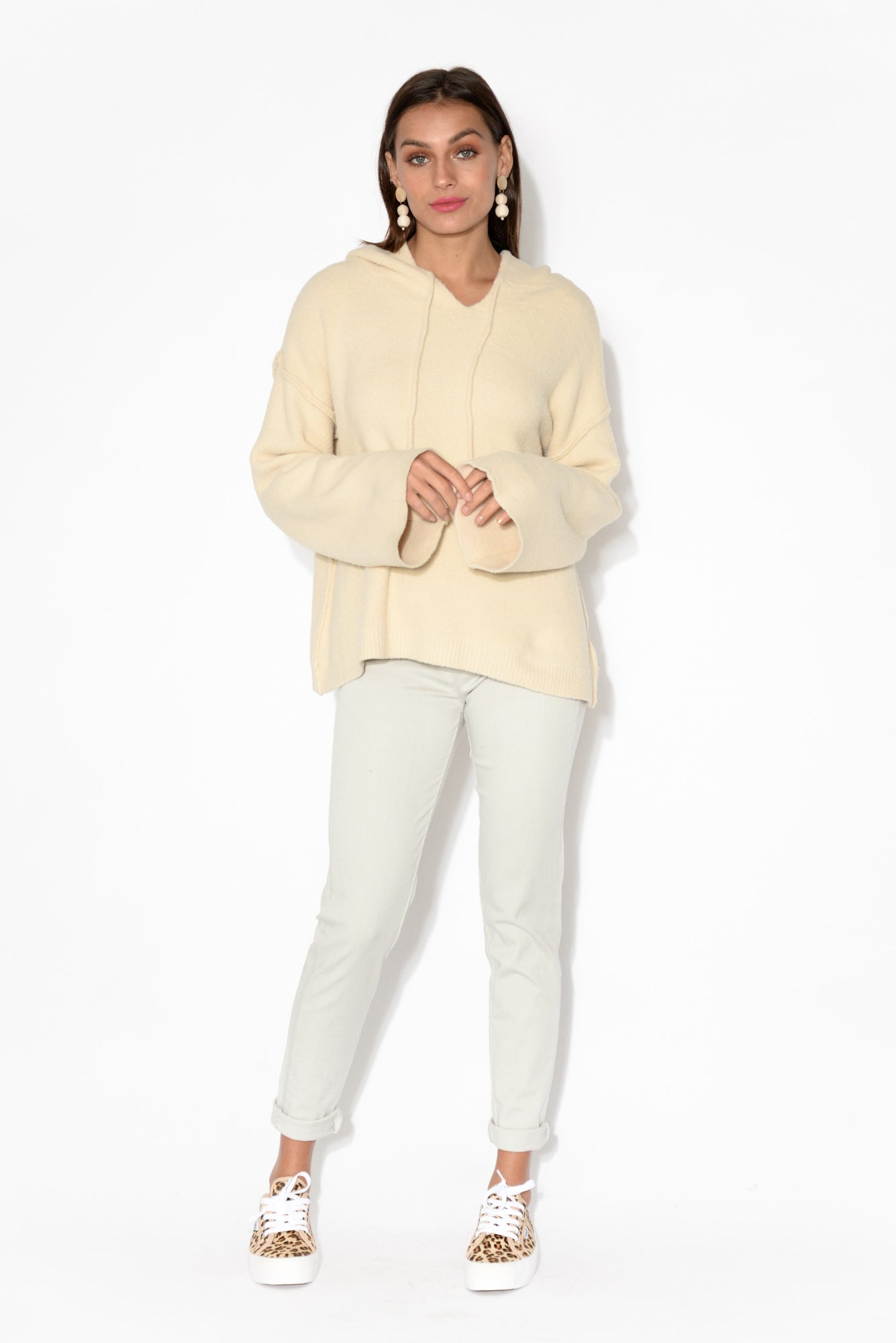 Dakota Cream Hooded Jumper