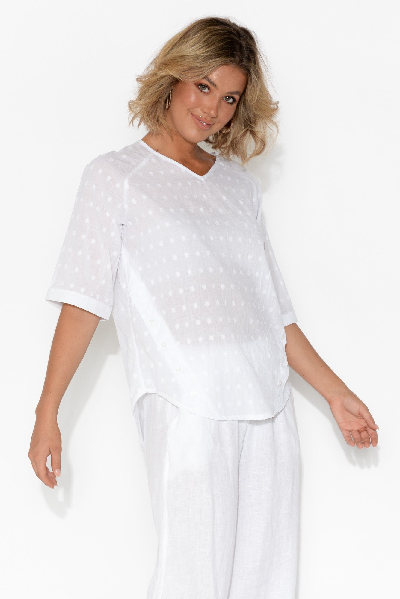 Daniela Textured White Cotton Top