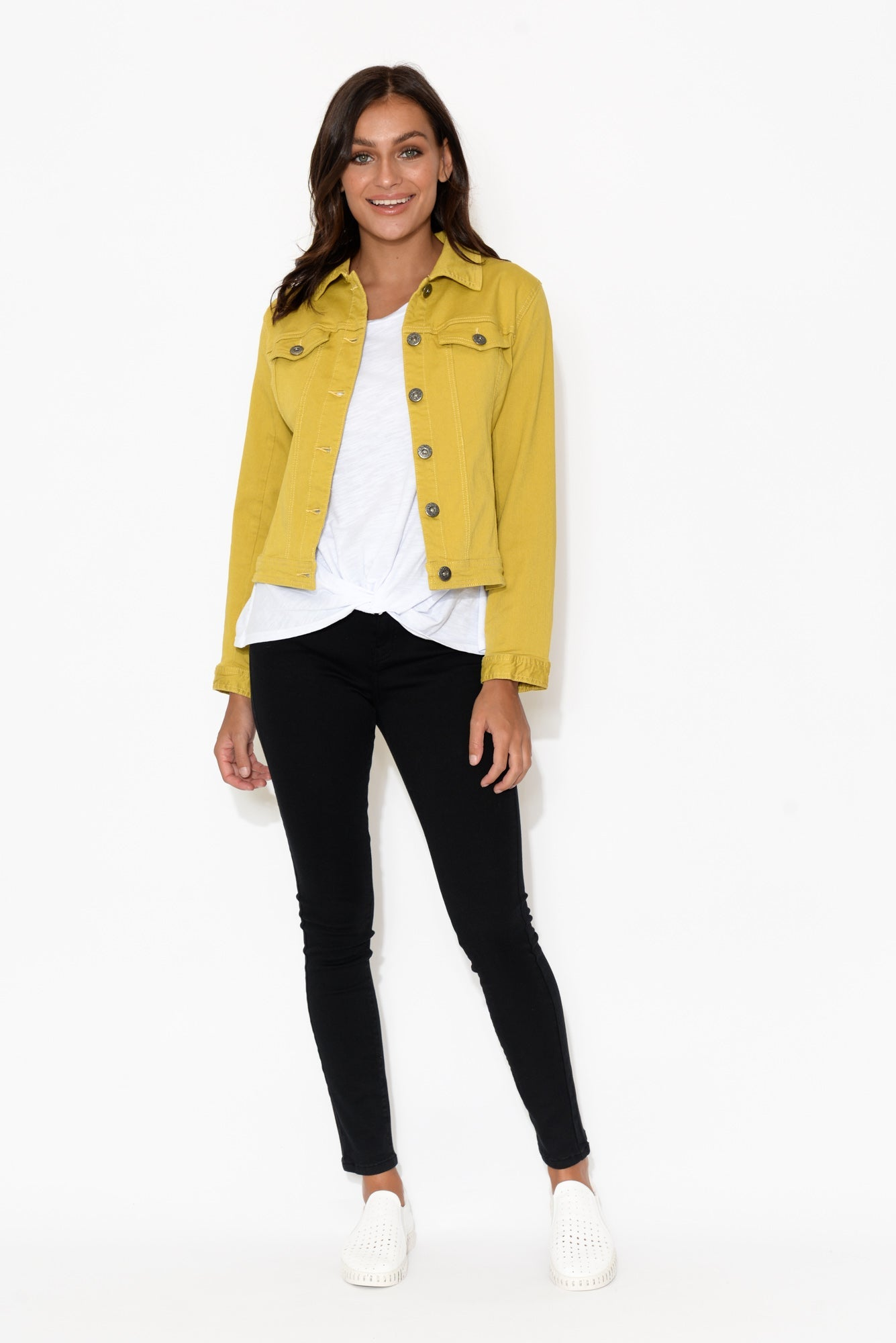 Danielle Mustard Stretch Jean Jacket