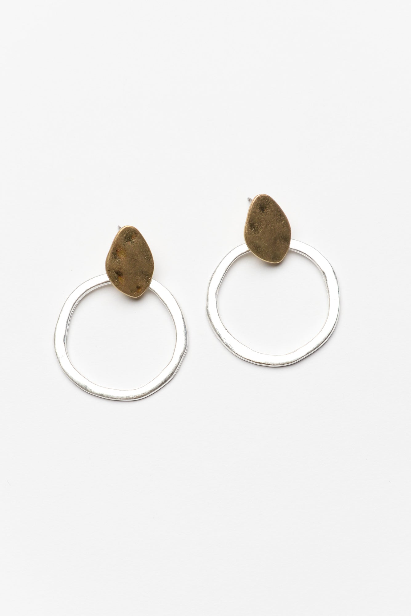 Danni Silver Hammered Circle Earring