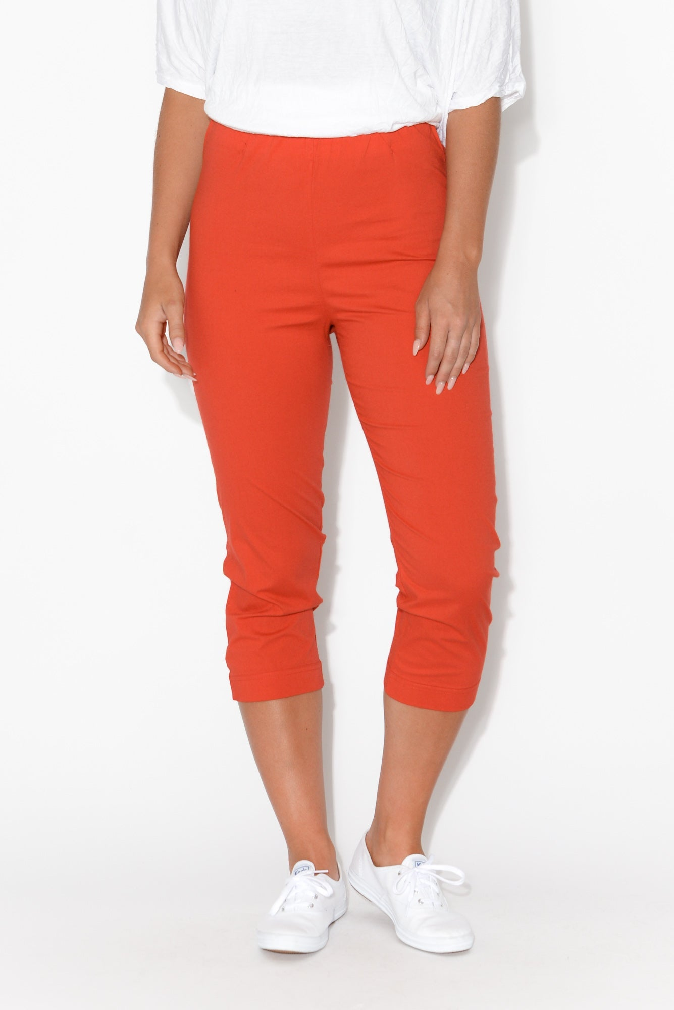 Darcy Red Cotton Capri Pant