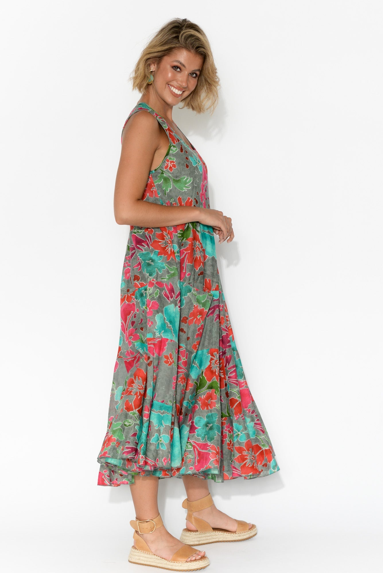 Daydream Grey Floral Cotton Midi Dress