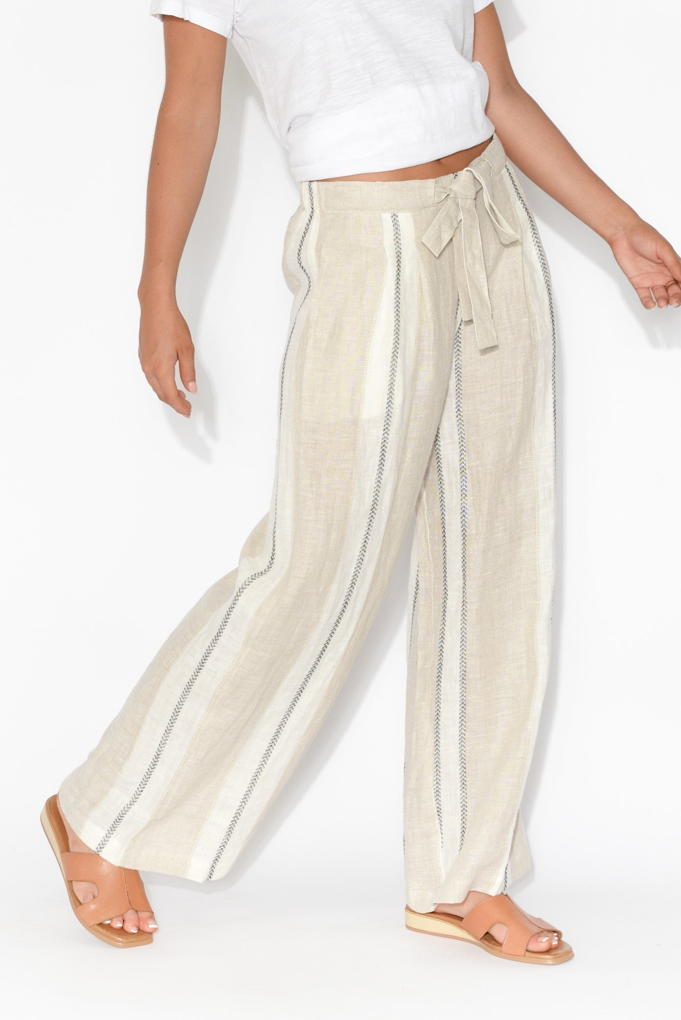 Dickens Natural Stripe Linen Pant