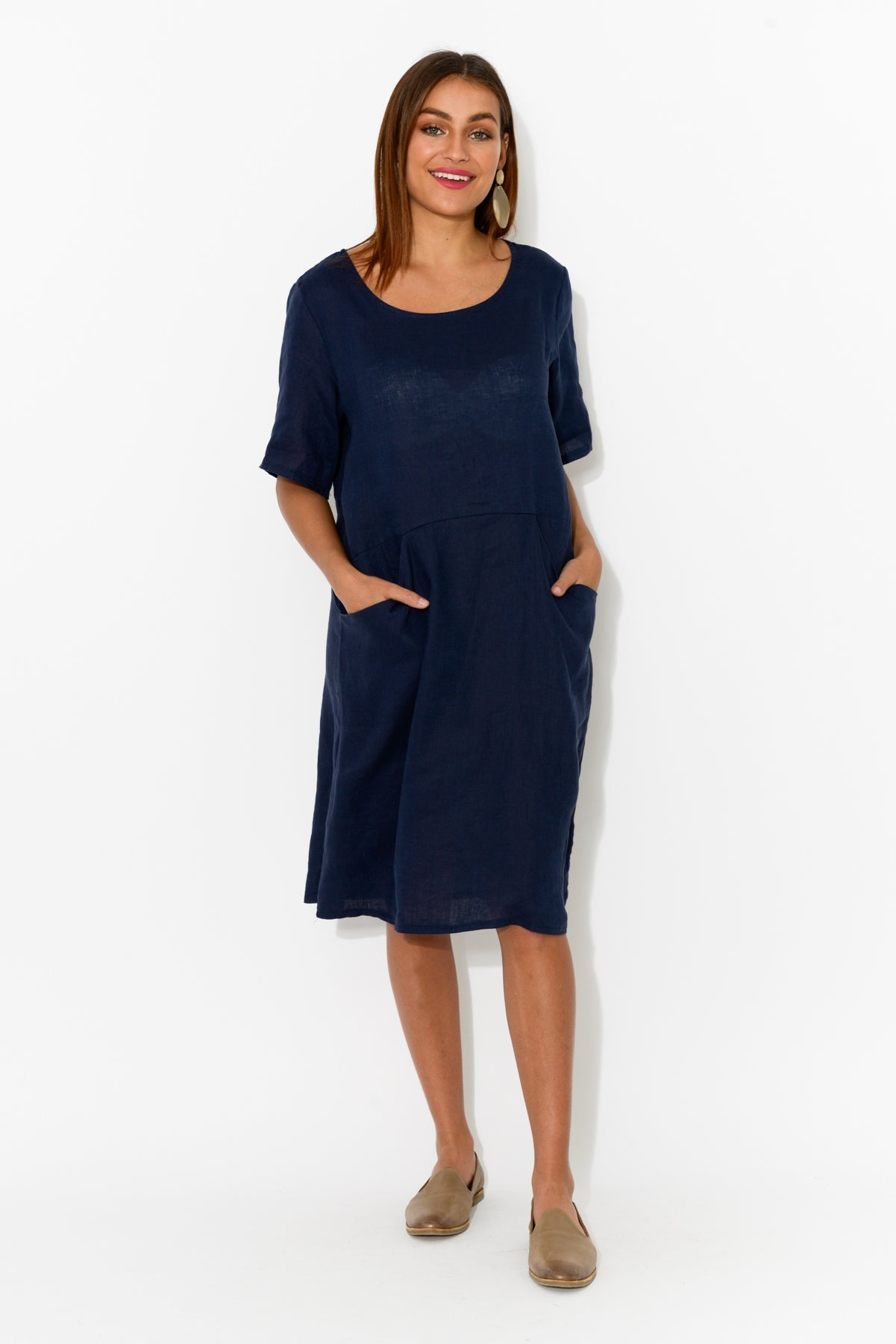 Dora Navy Linen Pocket Dress - Cali and Co - Blue Bungalow Online