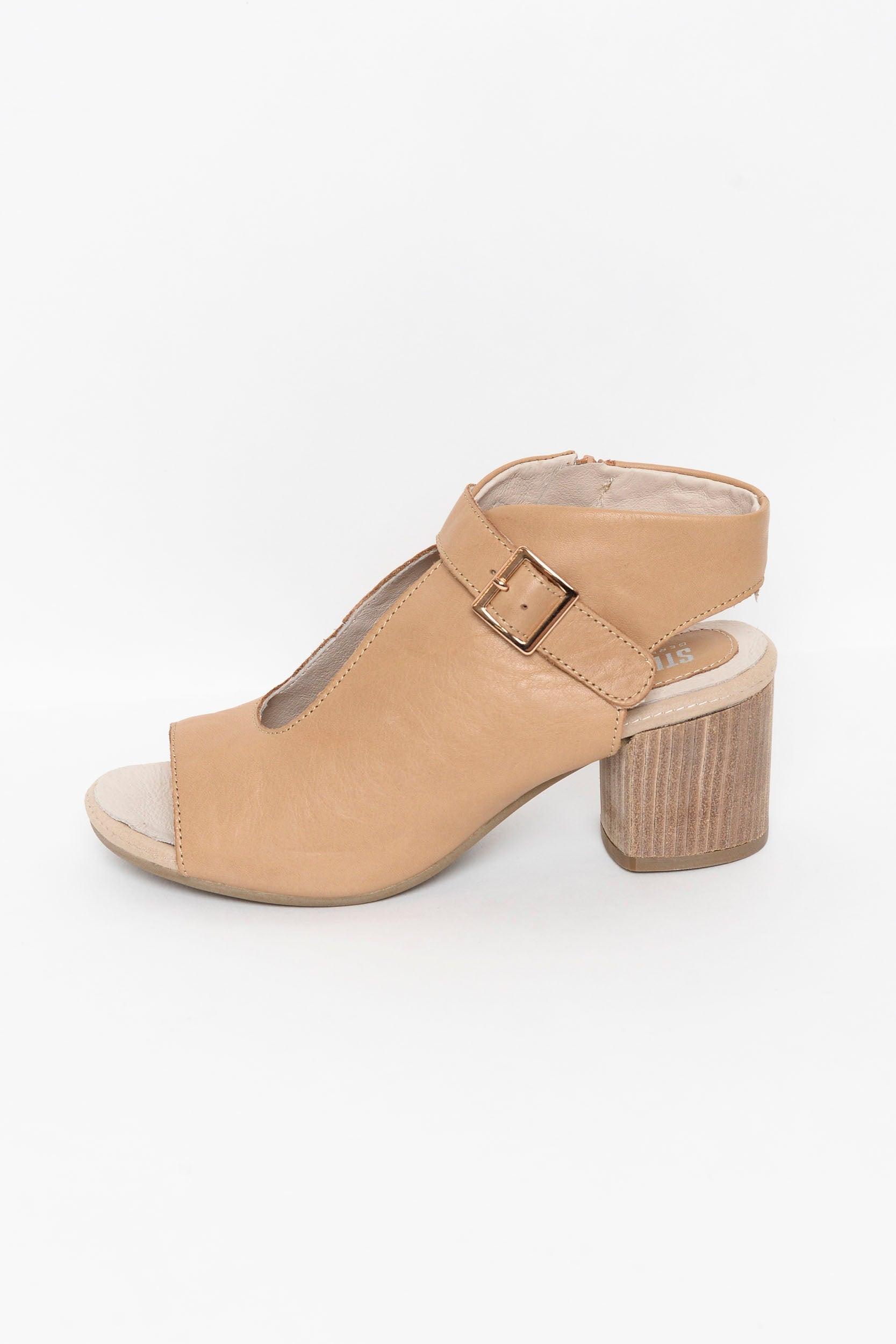 Elixir Camel Leather Heeled Sandal