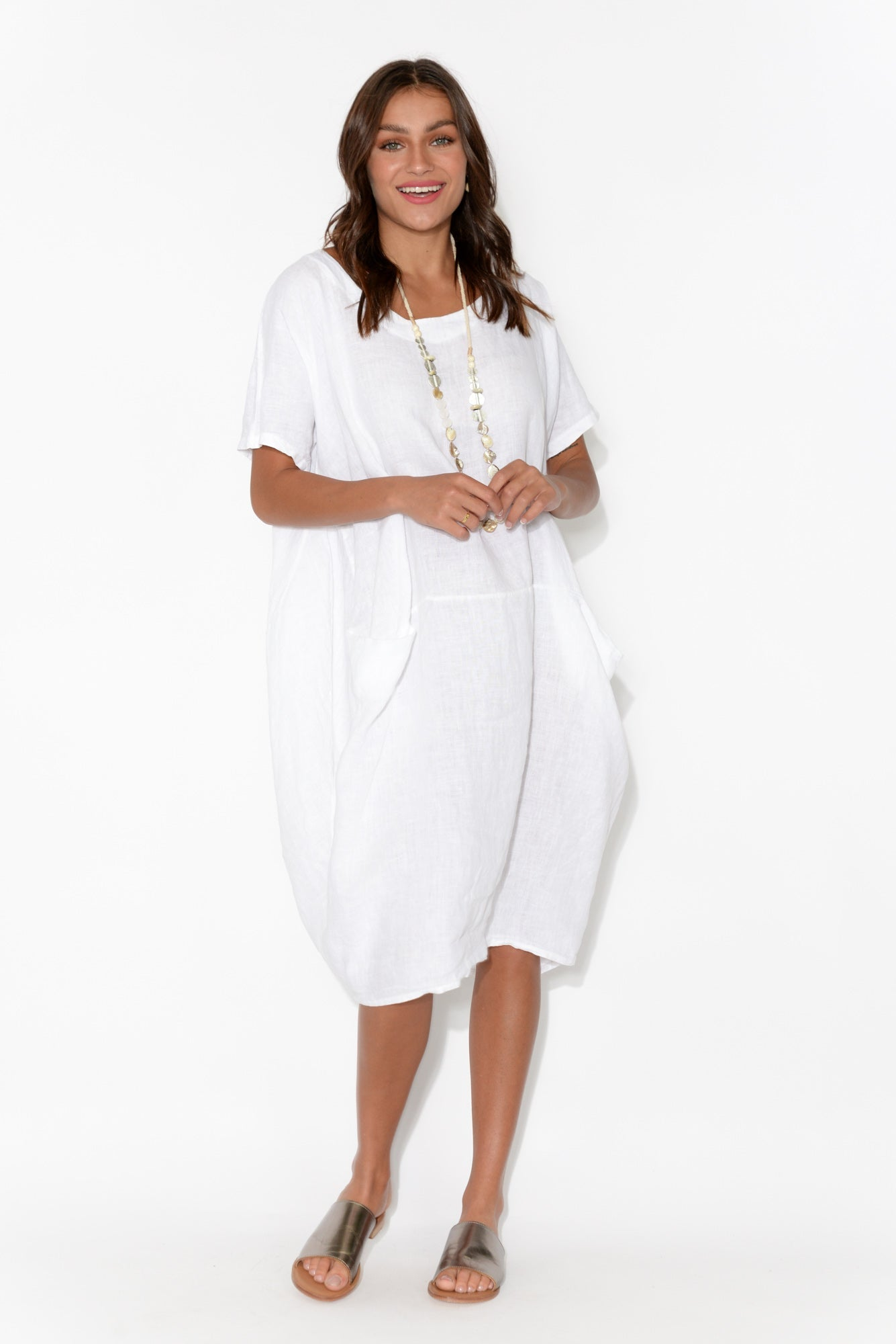 Ella White Linen Dress