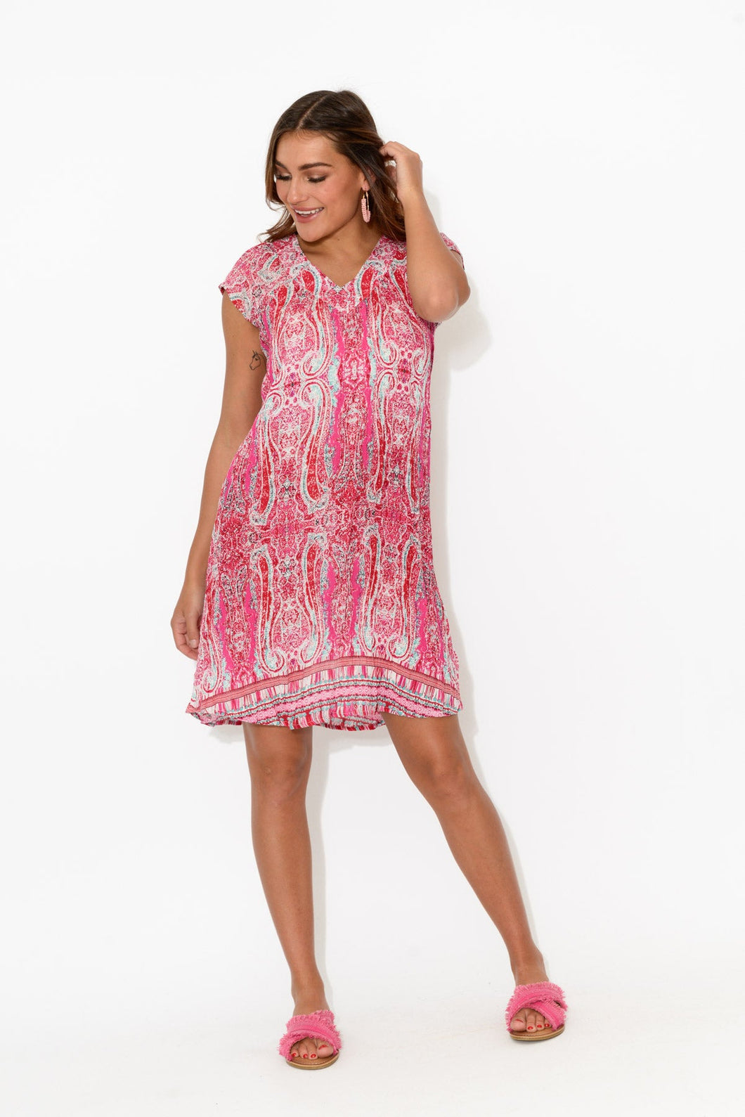 Elliot Pink Crinkle Cap Dress - One Summer - Blue Bungalow Online