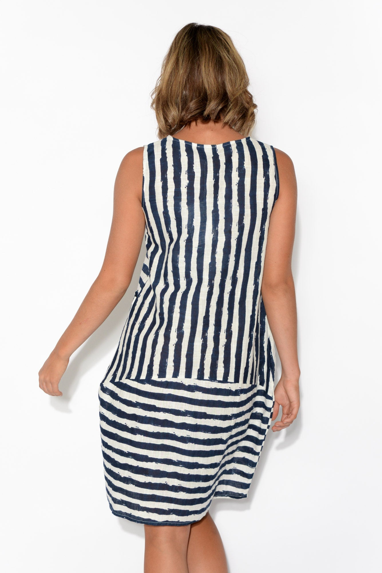 Emilia Sleeveless Navy Stripe Dress