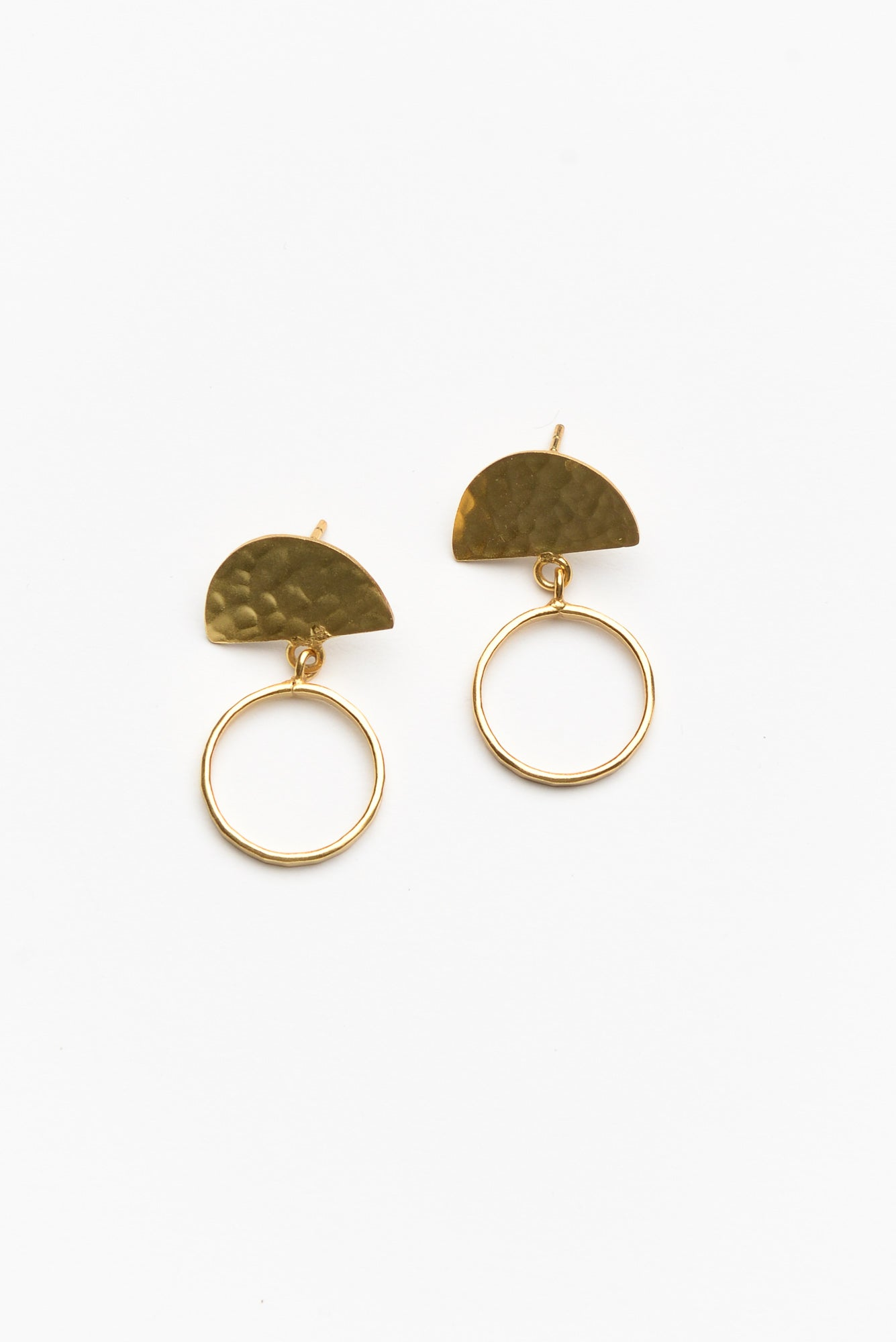 Erica Hammered Gold Circle Earring