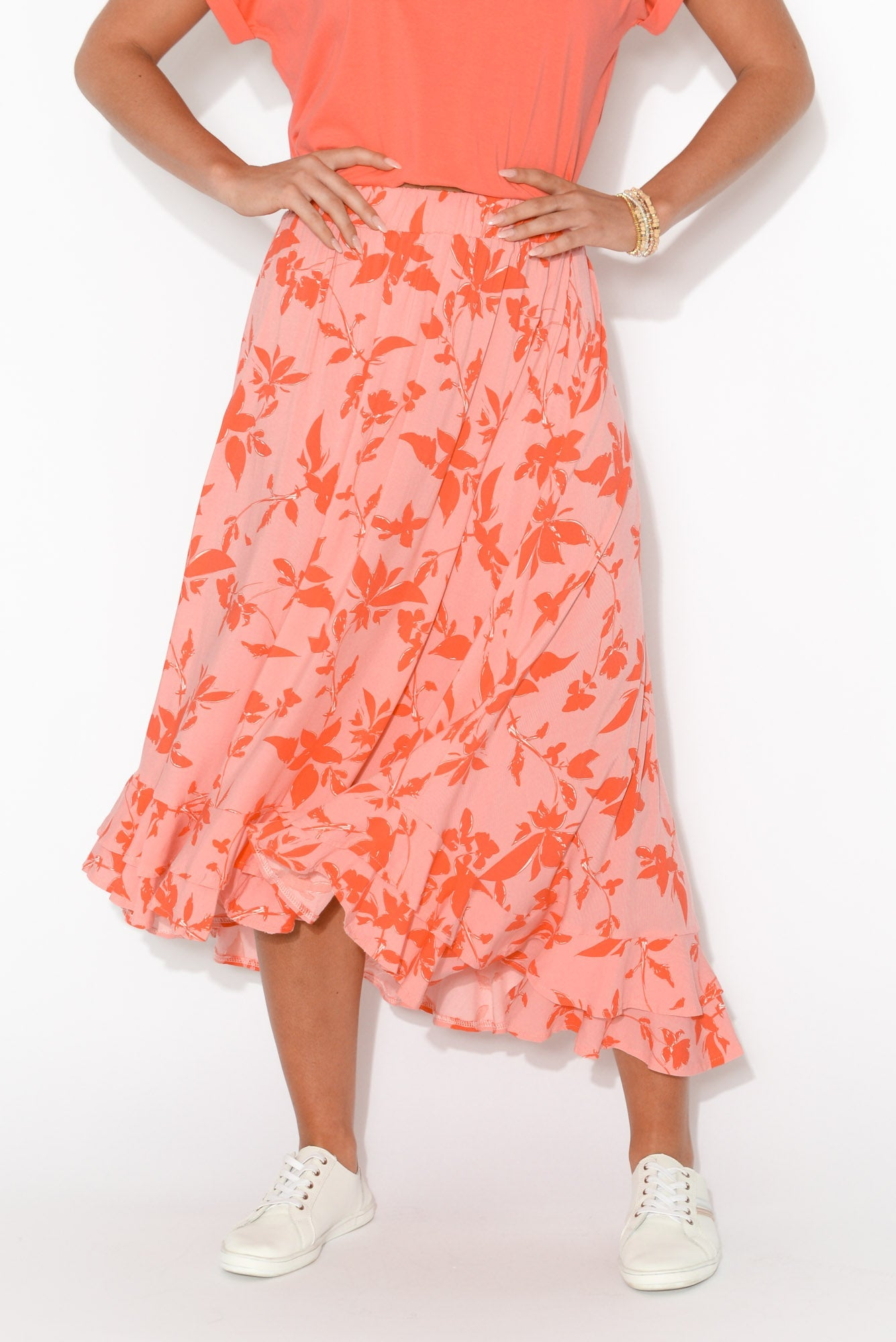 Eve Red Leaf Hi Lo Skirt