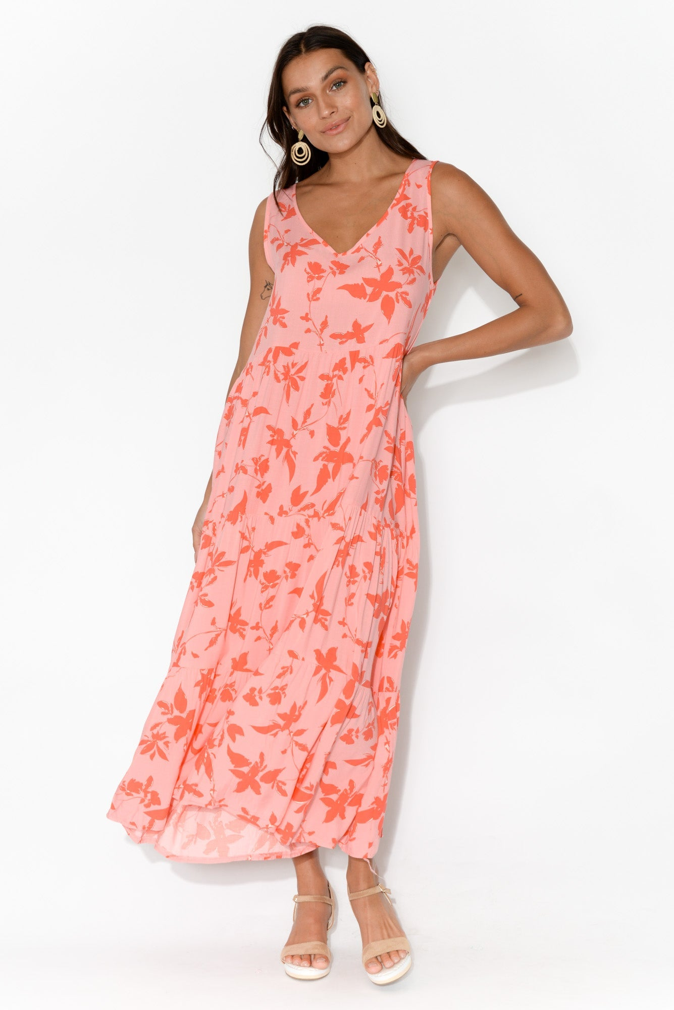 Everly Red Leaf Sleeveless Maxi Dress