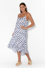Fallon Navy Star Crinkle Cotton Midi Dress