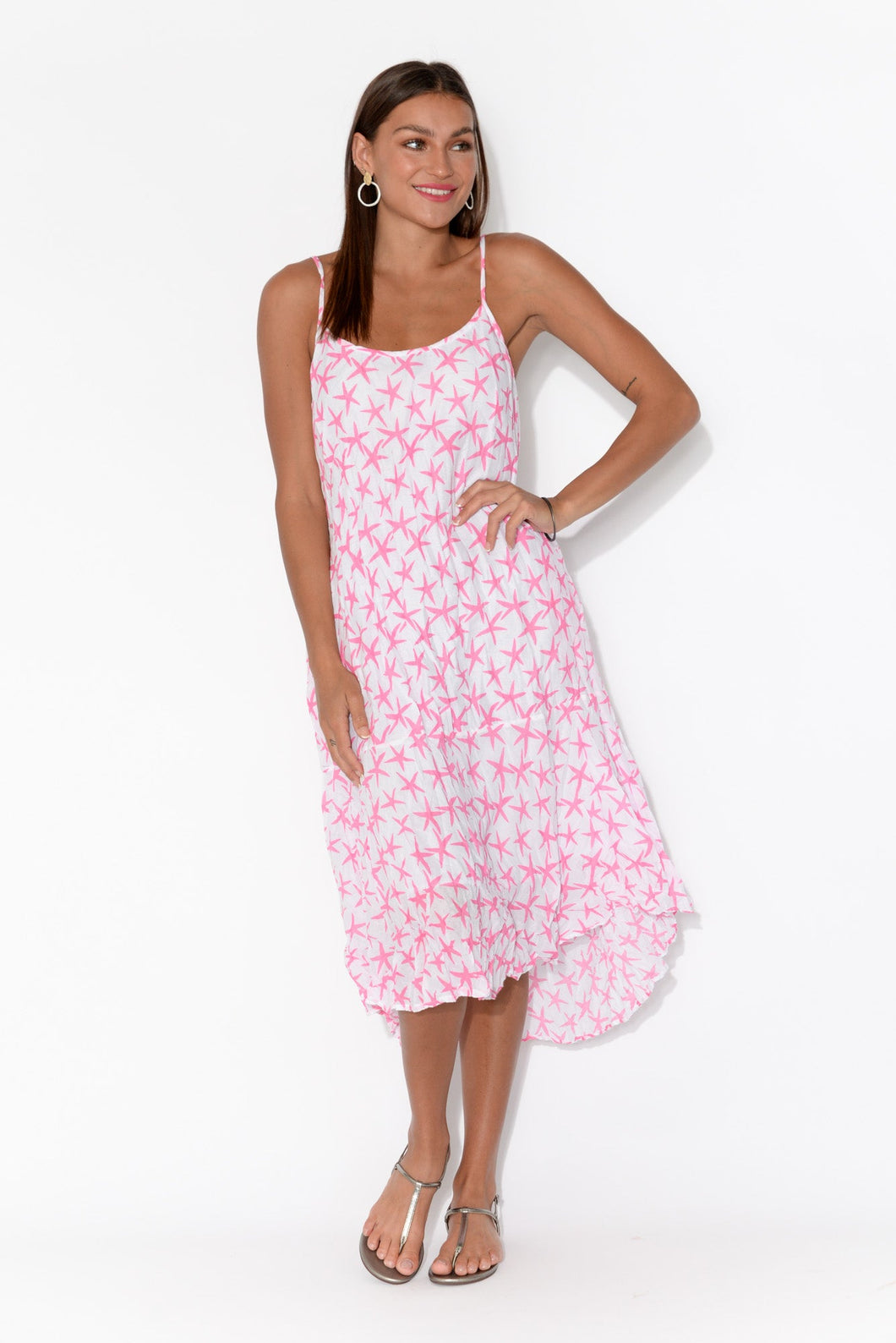 Fallon Pink Star Crinkle Cotton Midi Dress