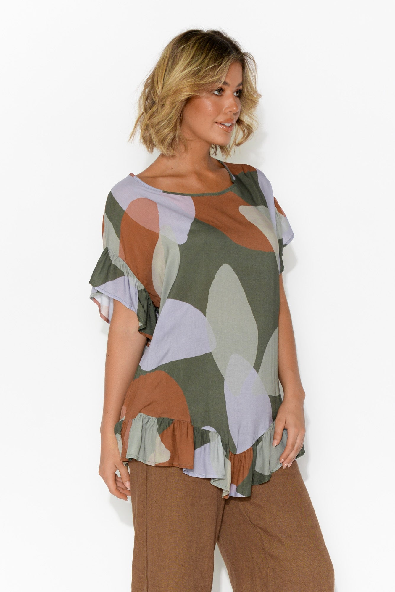 Farren Green Abstract Frilled Top