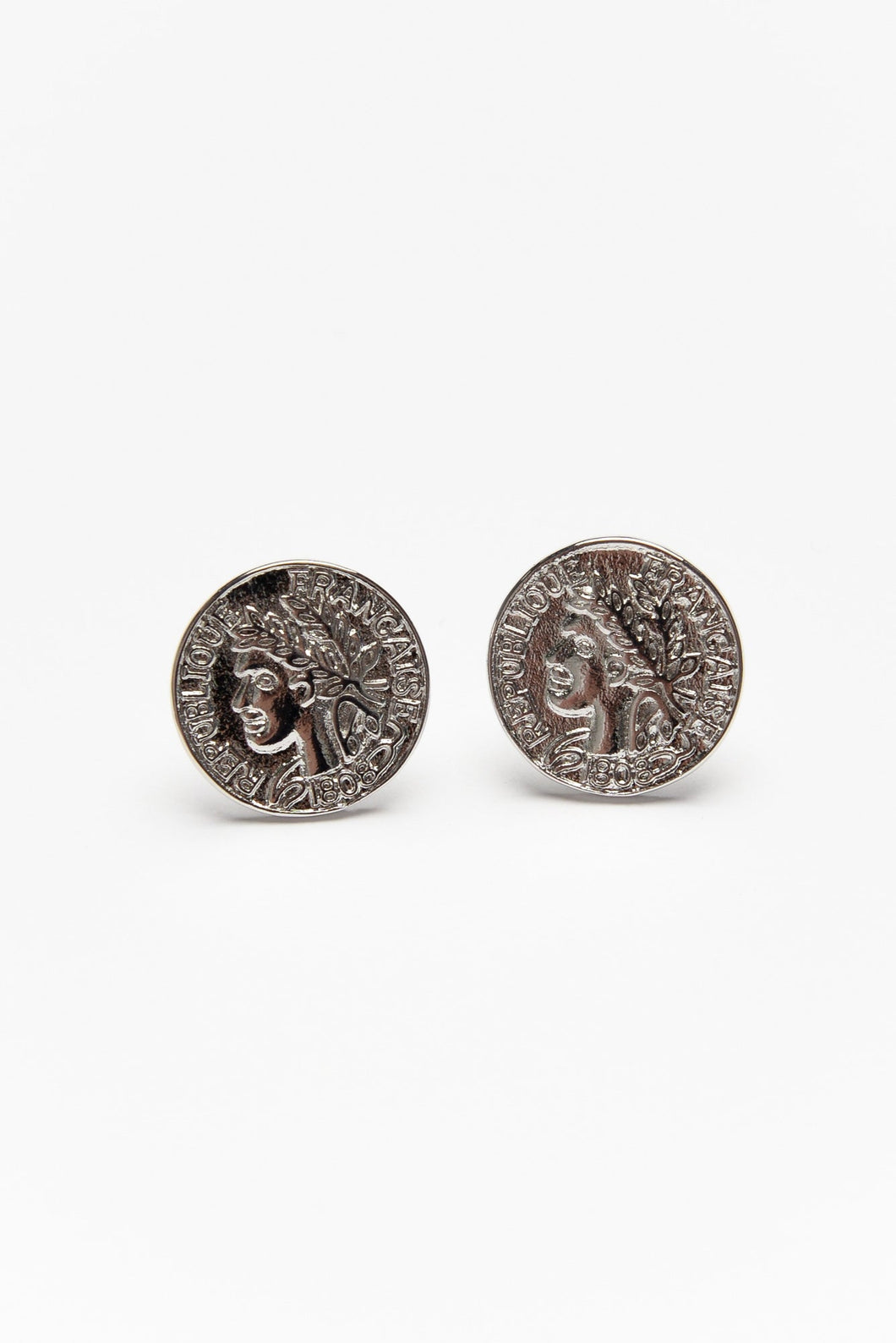 Franc Silver Coin Stud Earring