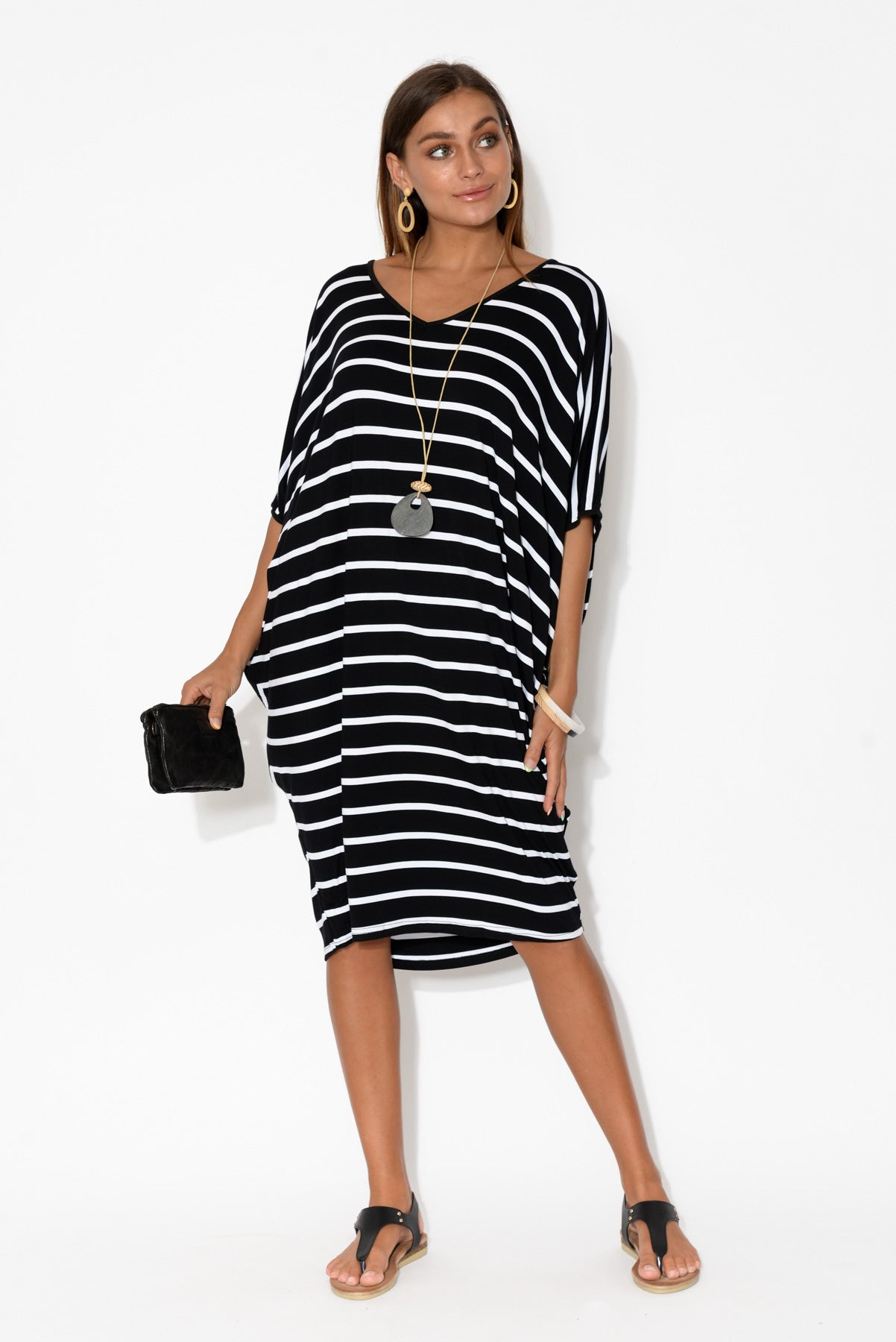 Freya Black Stripe Batwing Dress