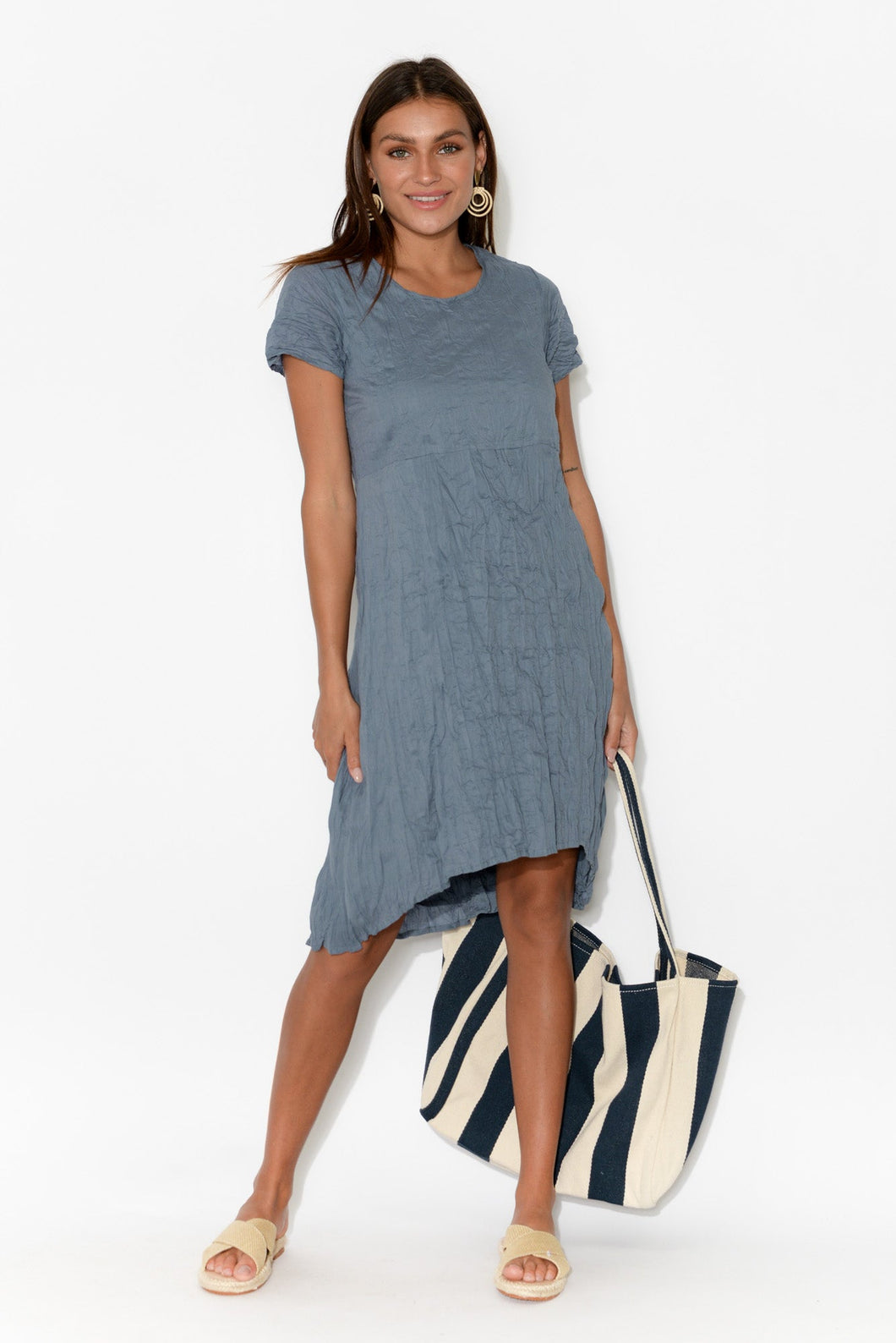 Gabriella Blue Crinkle Cotton Hi Lo Dress