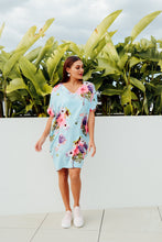 Gaby Blue Cherry Blossom Drape Tee Dress