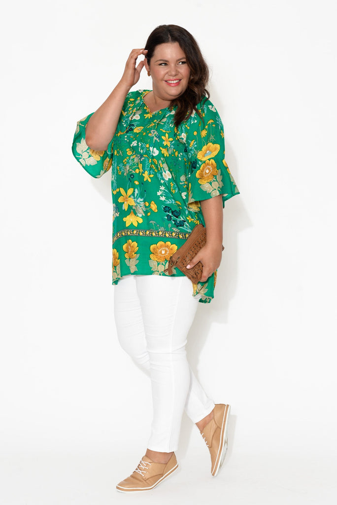 Gala Green Flower Bell Sleeve Top