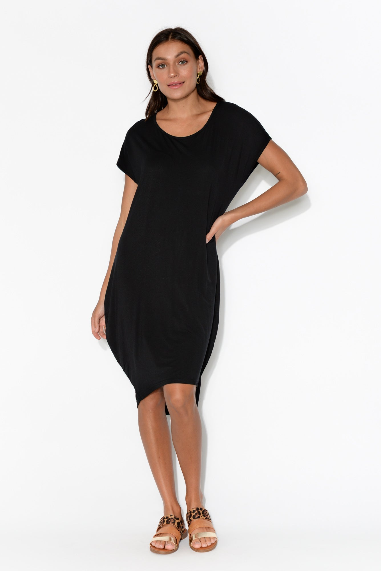 Georgie Black Bamboo Tulip Dress