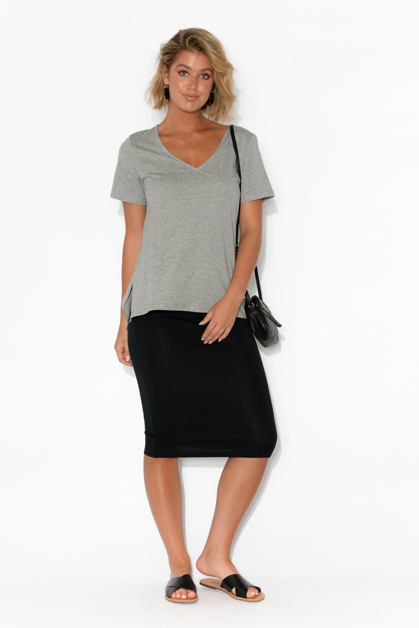Gina Grey Marle Cotton Tee