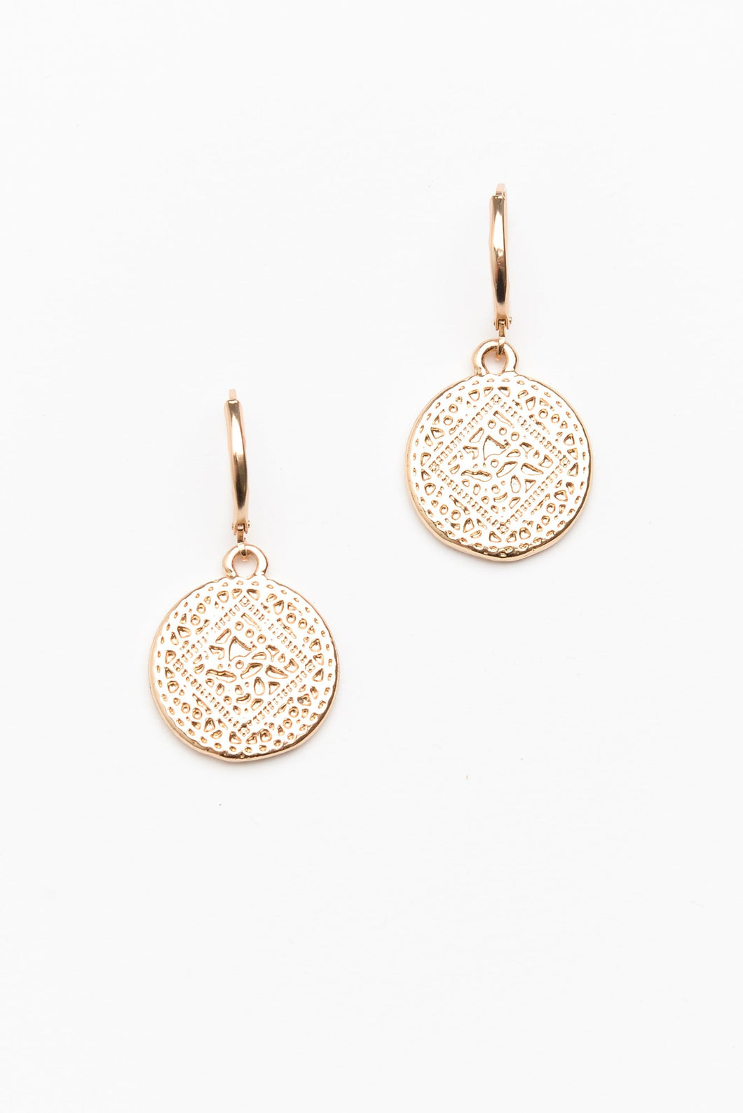 Gold Patterned Disc Earring