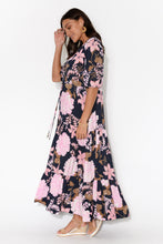 Gracen Navy Floral Split Front Maxi Dress