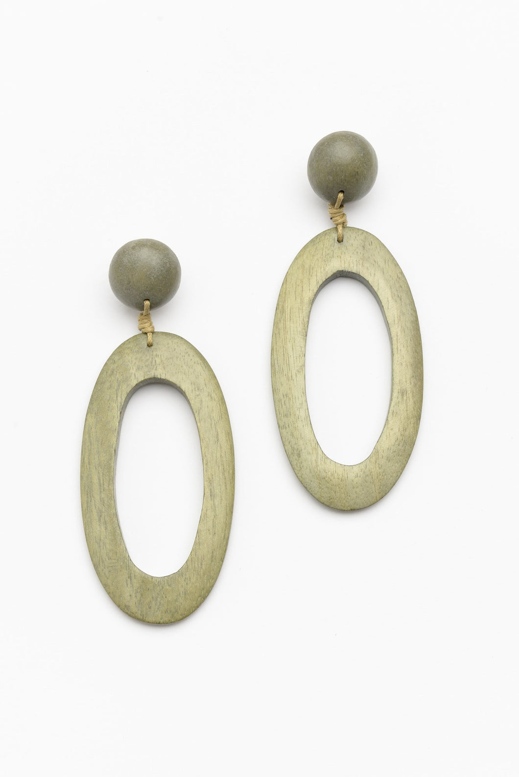 Green Timber Oval Drop Earring