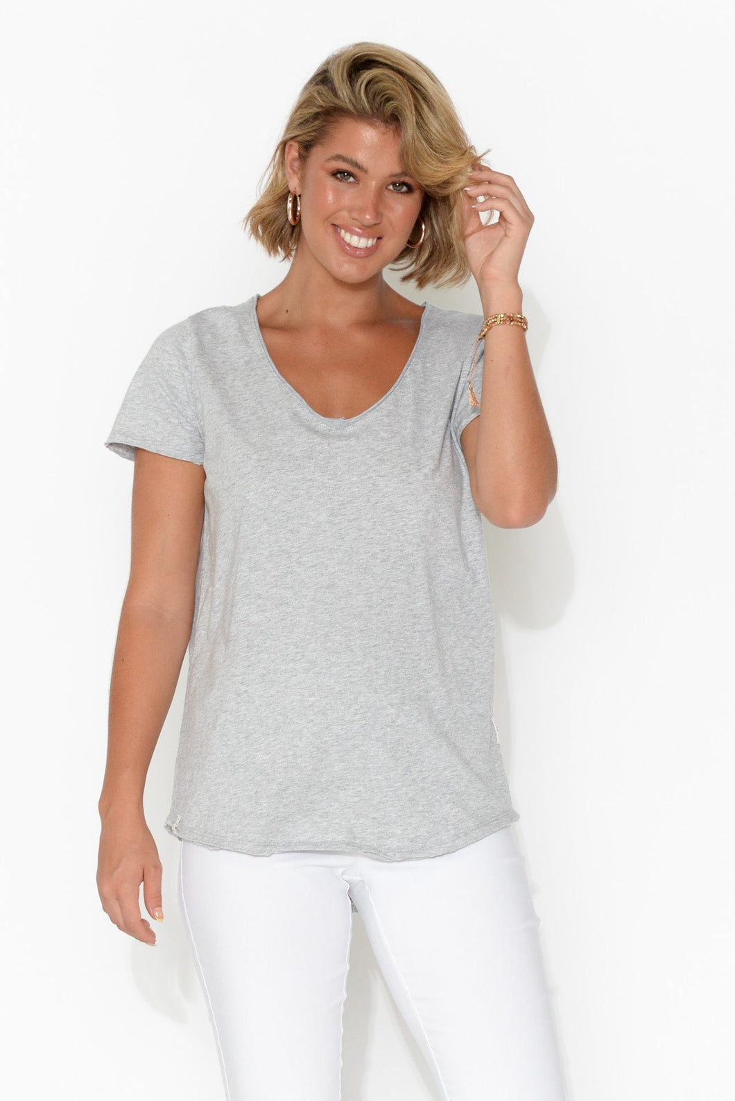 Grey Cotton Fundamental Vee Tee