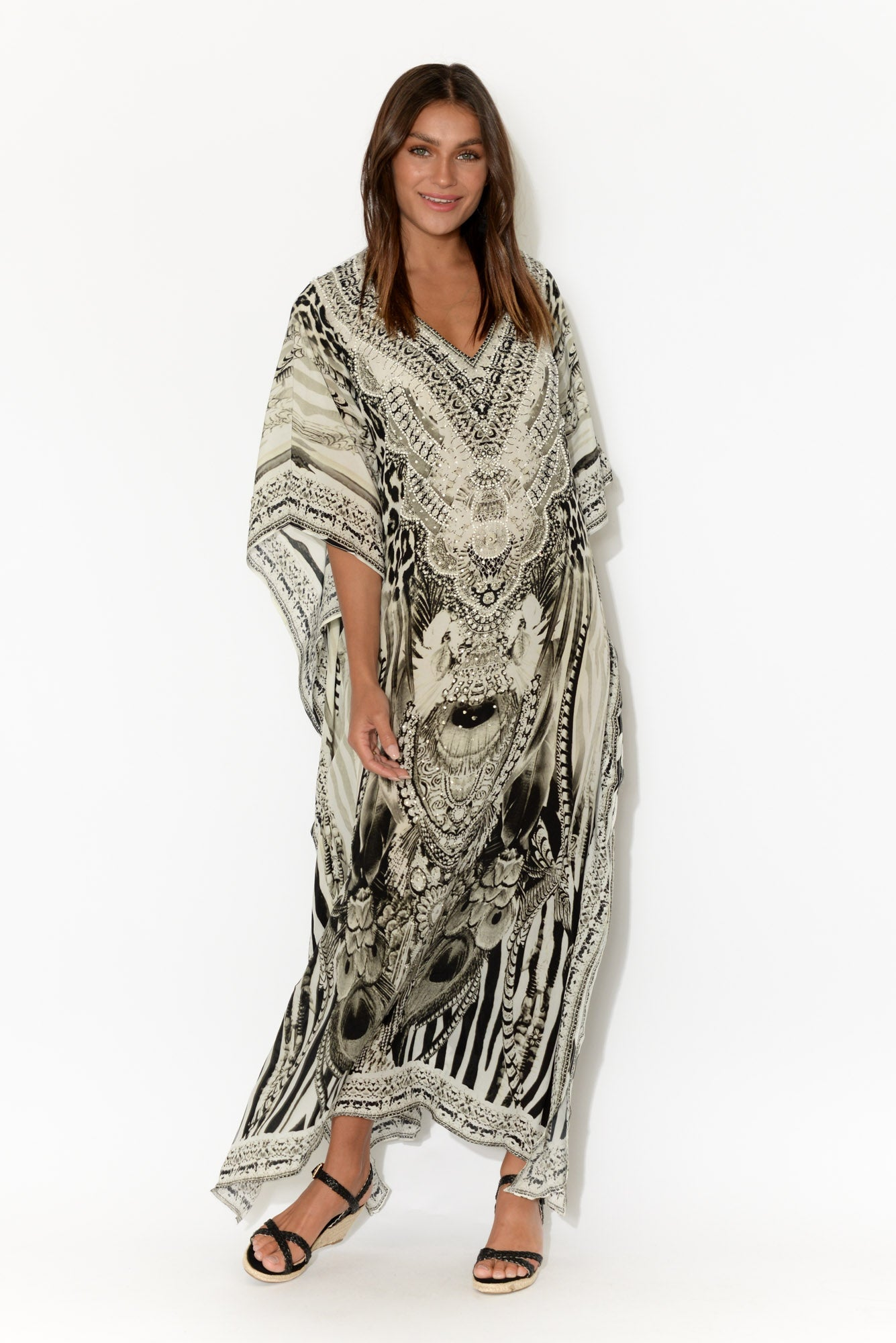 Grey Safari Silk Maxi Kaftan