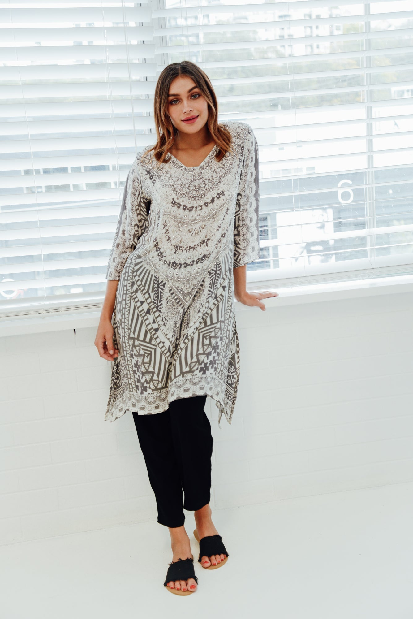Grey Picasso Silk Tunic Dress - Fashion Spectrum - Blue Bungalow Online