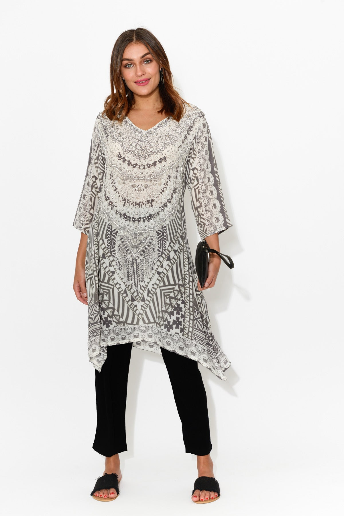 Grey Picasso Silk Tunic Dress