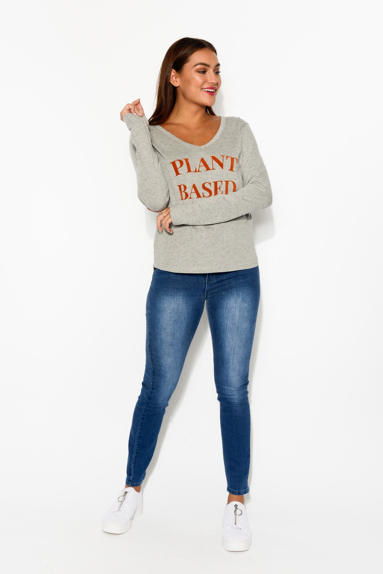 Grey Plant Based Long Sleeve Tee - Blue Bungalow