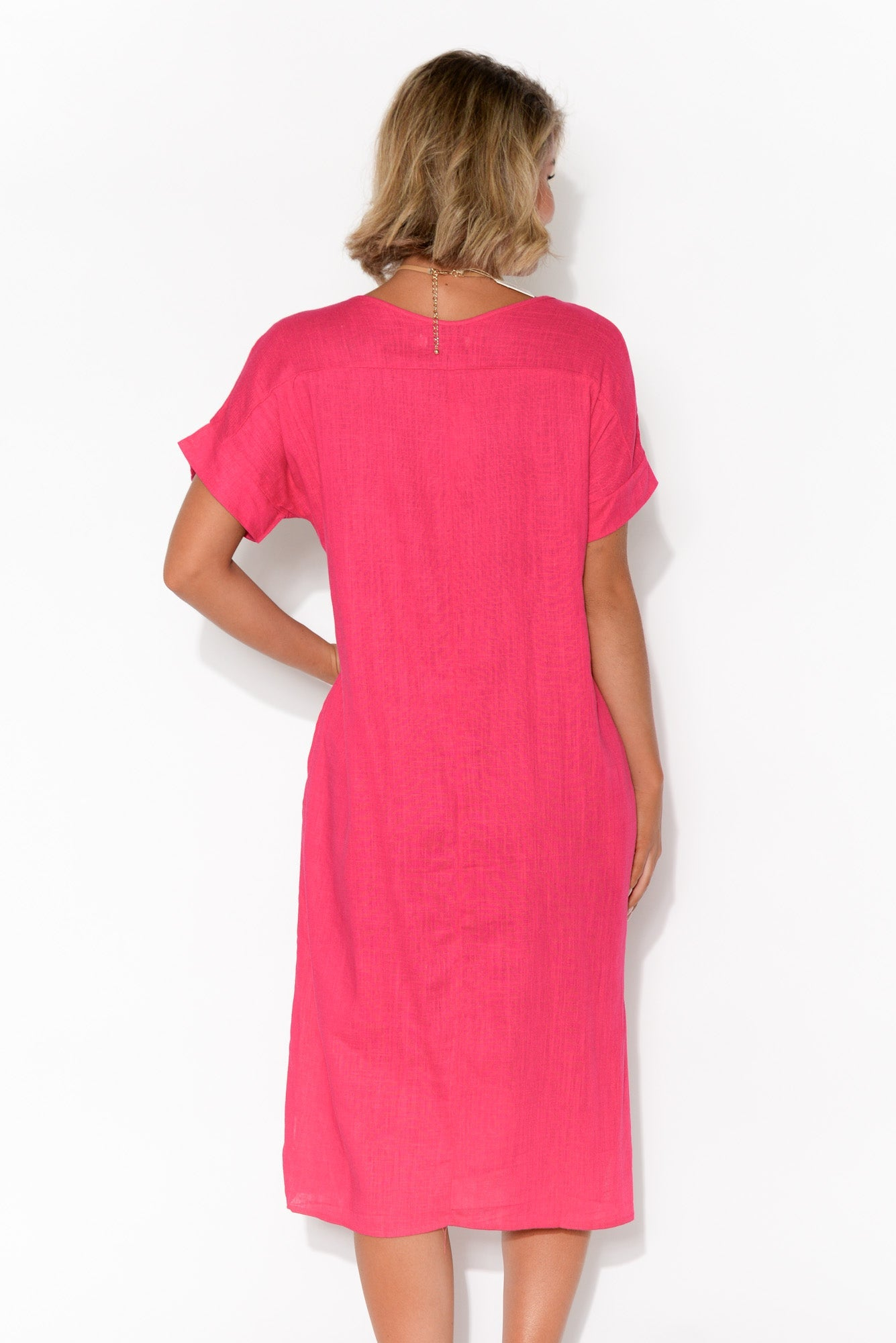 Hannah Pink Linen Cotton Dress