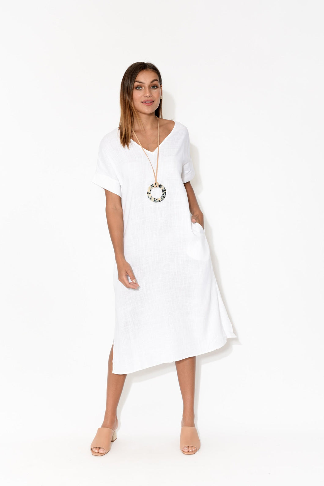 Hannah White Linen Cotton Dress