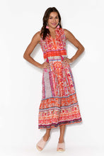 Ibiza Red Floral Aztec Sleeveless Midi Dress