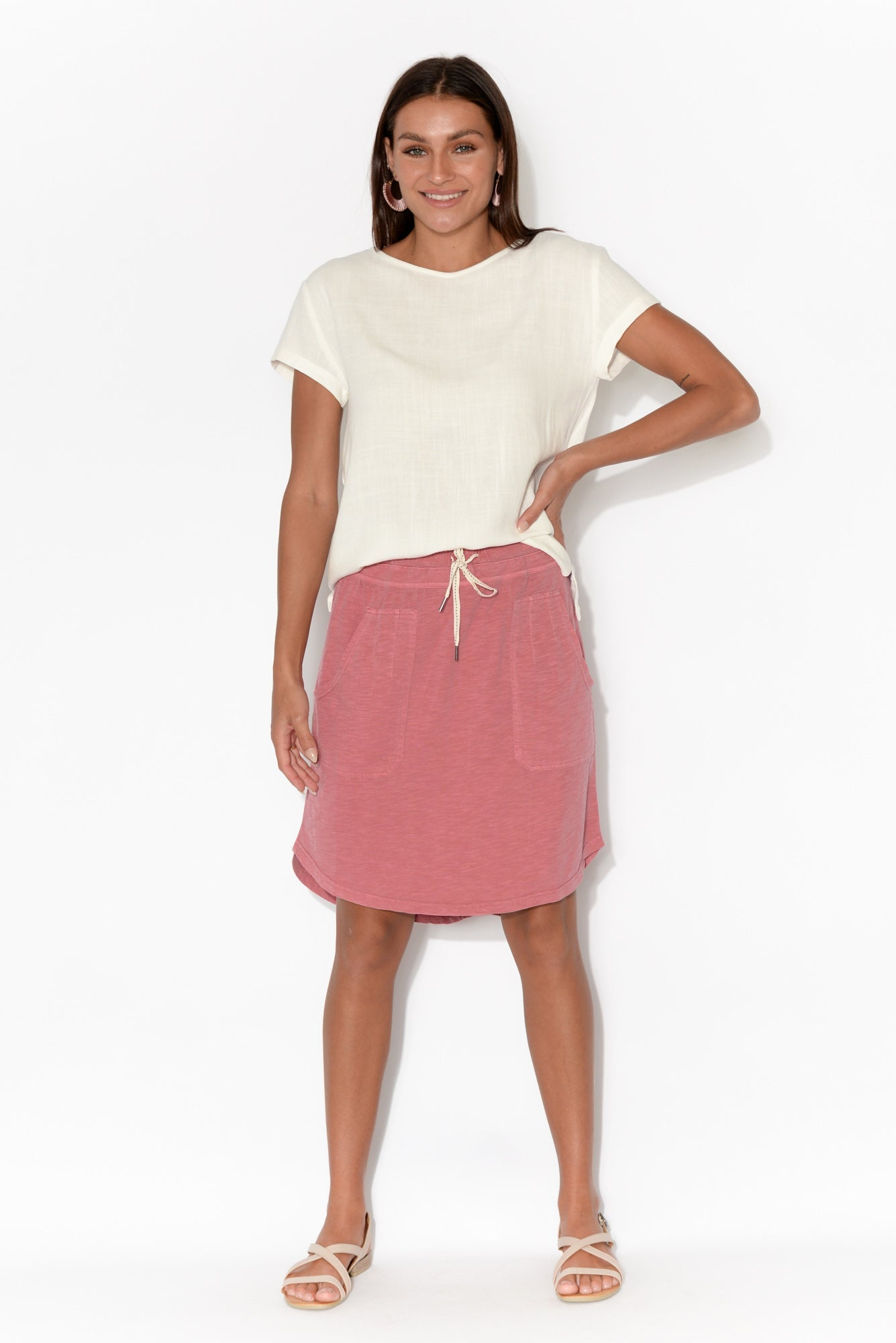 Utility Pink Cotton Tie Skirt