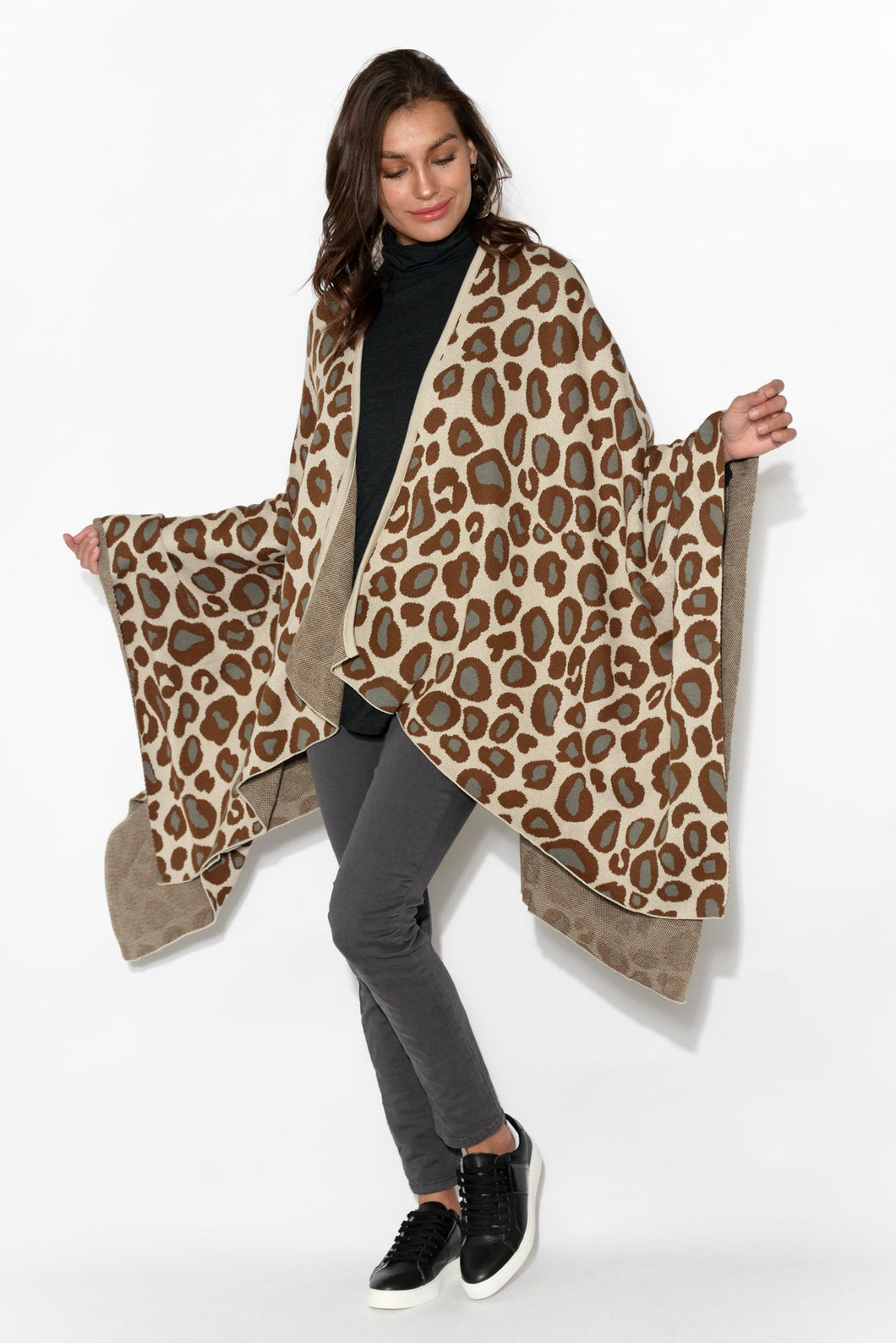 Jane Brown Leopard Cotton Cape