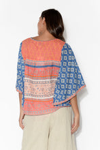 Jenna Orange and Blue Flared Sleeve Top