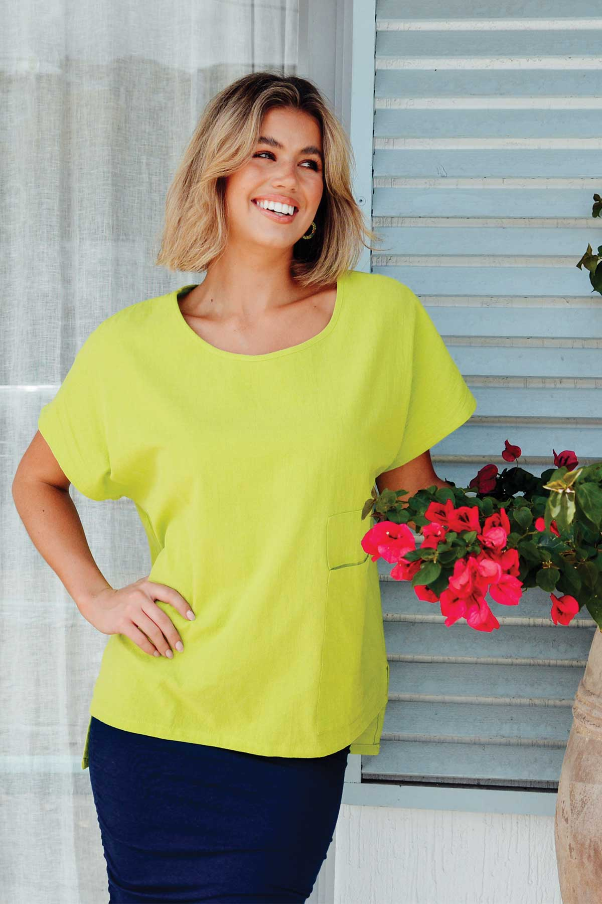 Jessica Lime Green Pocket Top