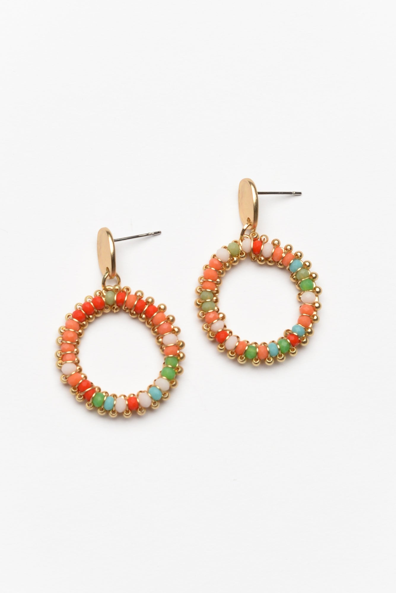 Joni Orange Circle Drop Earring