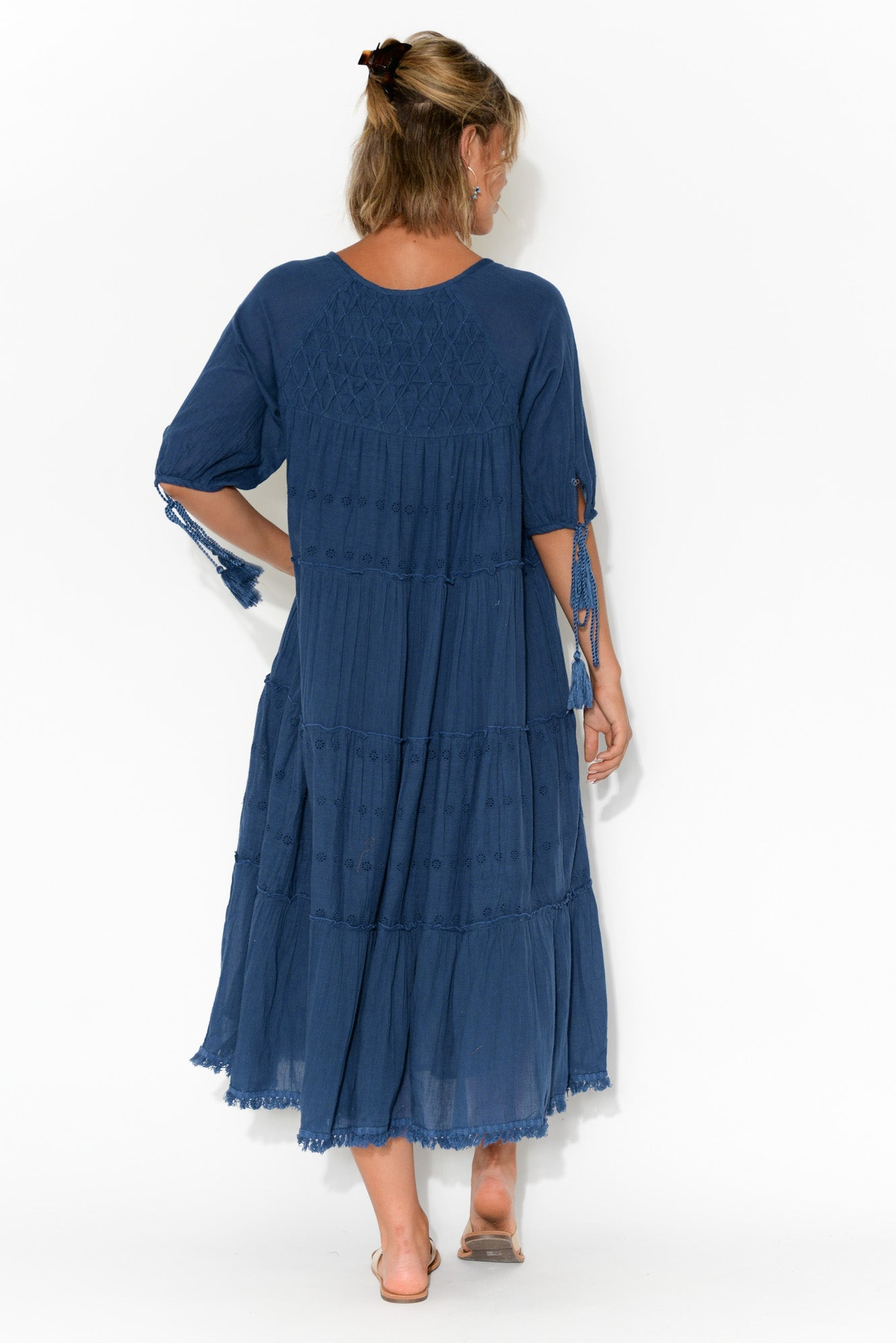 Judith Embroidered Navy Cotton Dress