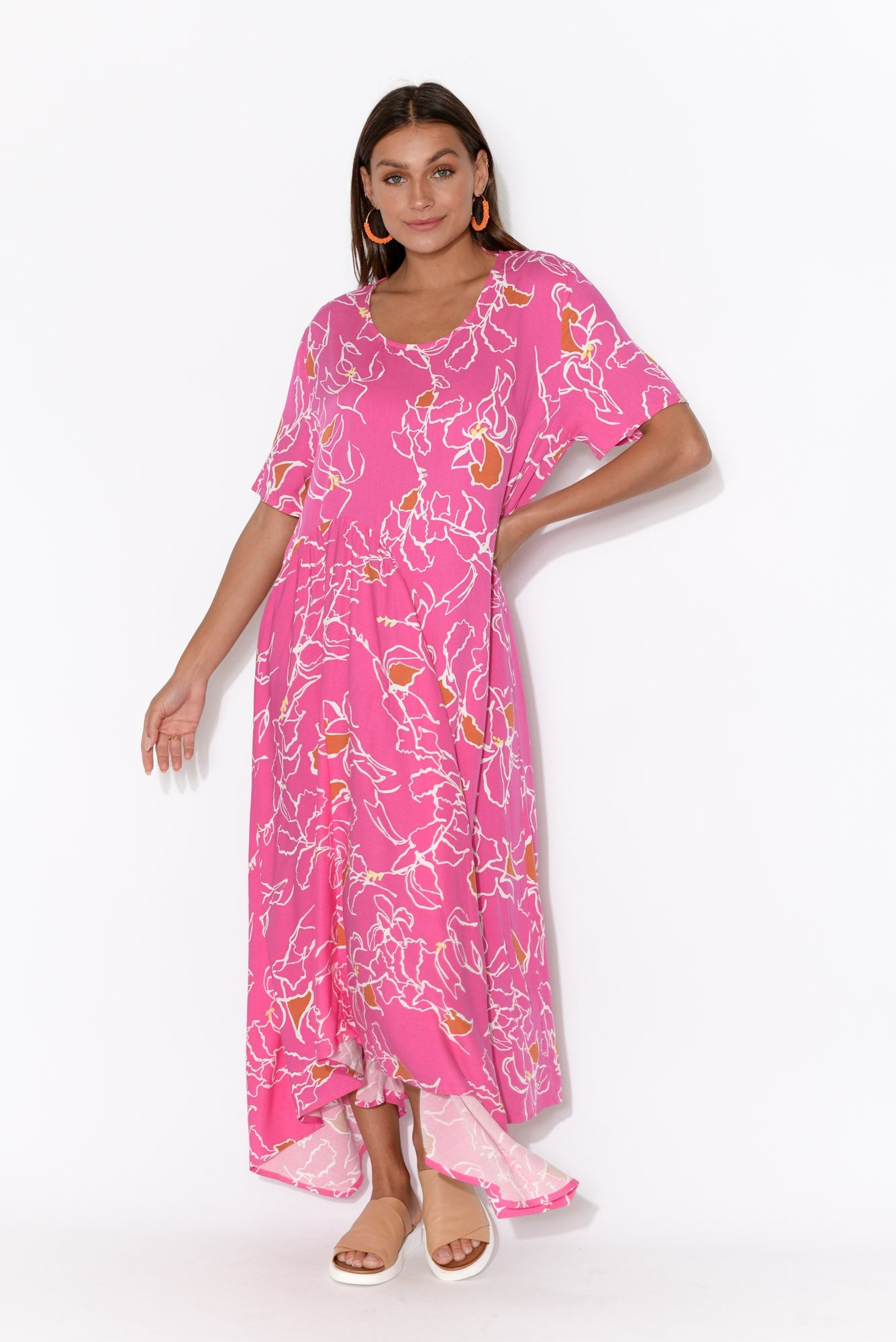Juliana Pink Paradise Asymmetric Dress