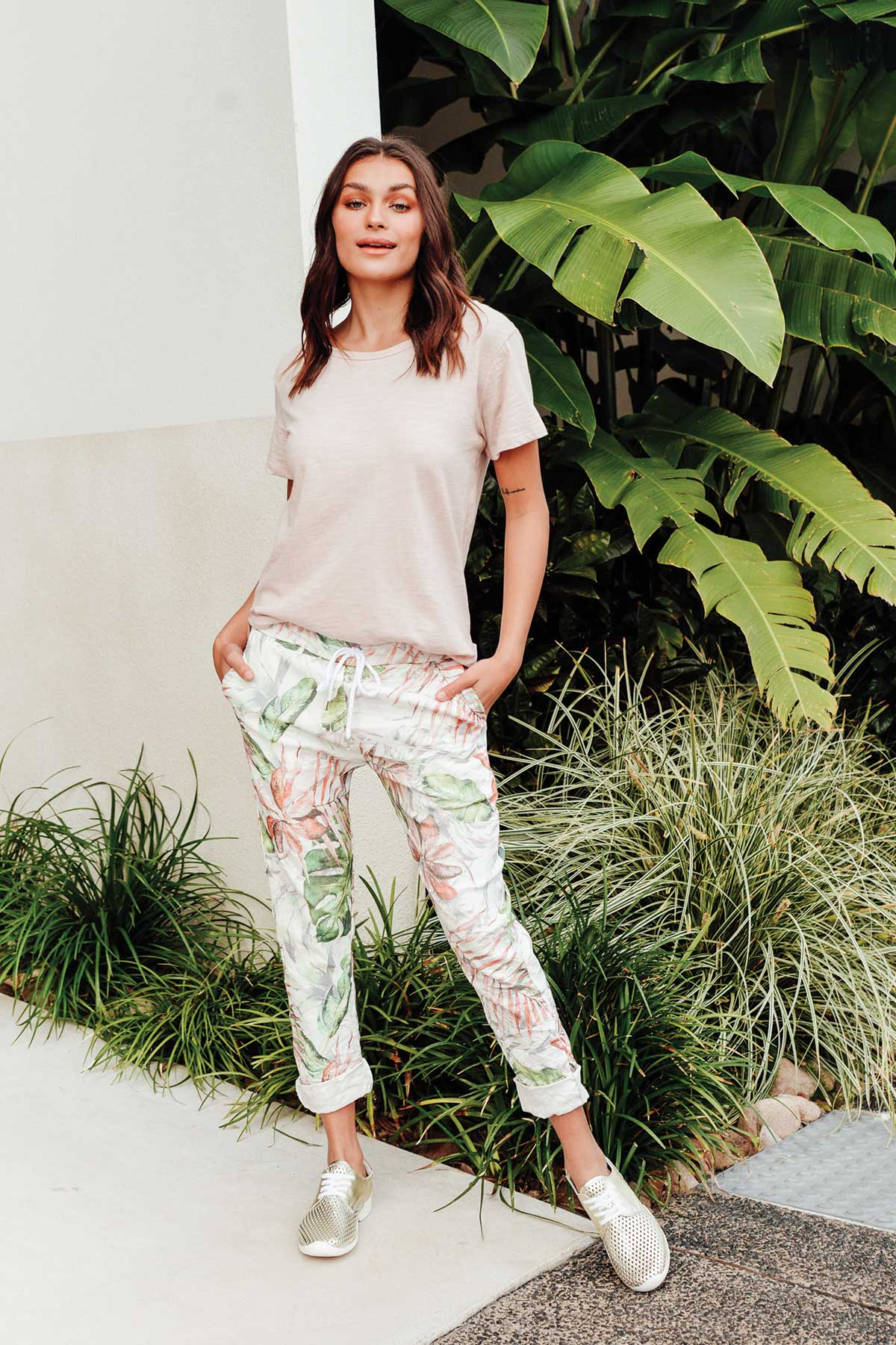 Julie Tropical Green Front Tie Pant