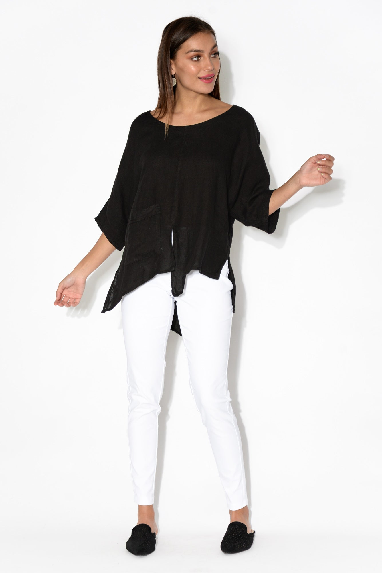 Kara Black Linen Top
