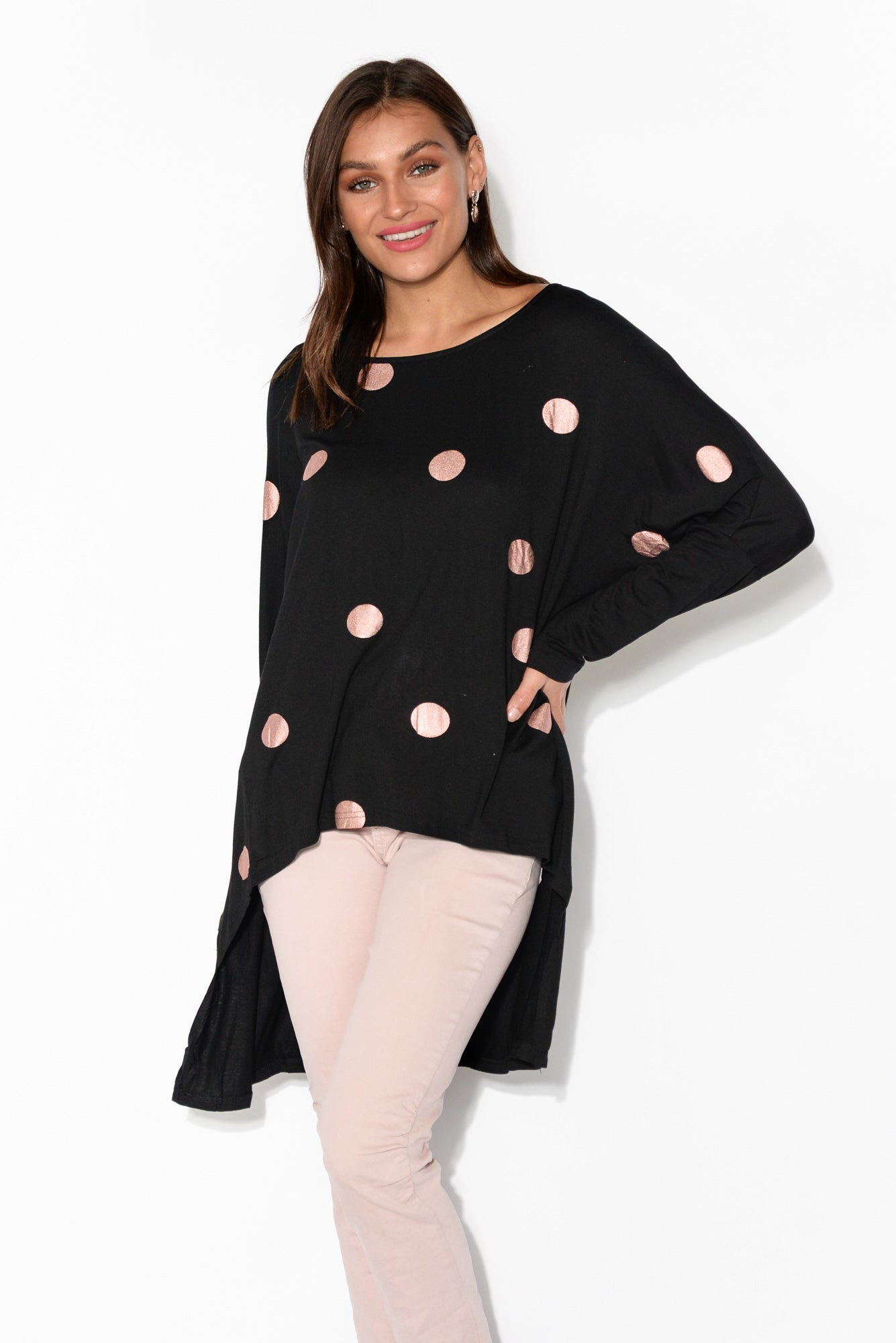Karlie Black Spot Long Sleeved Top