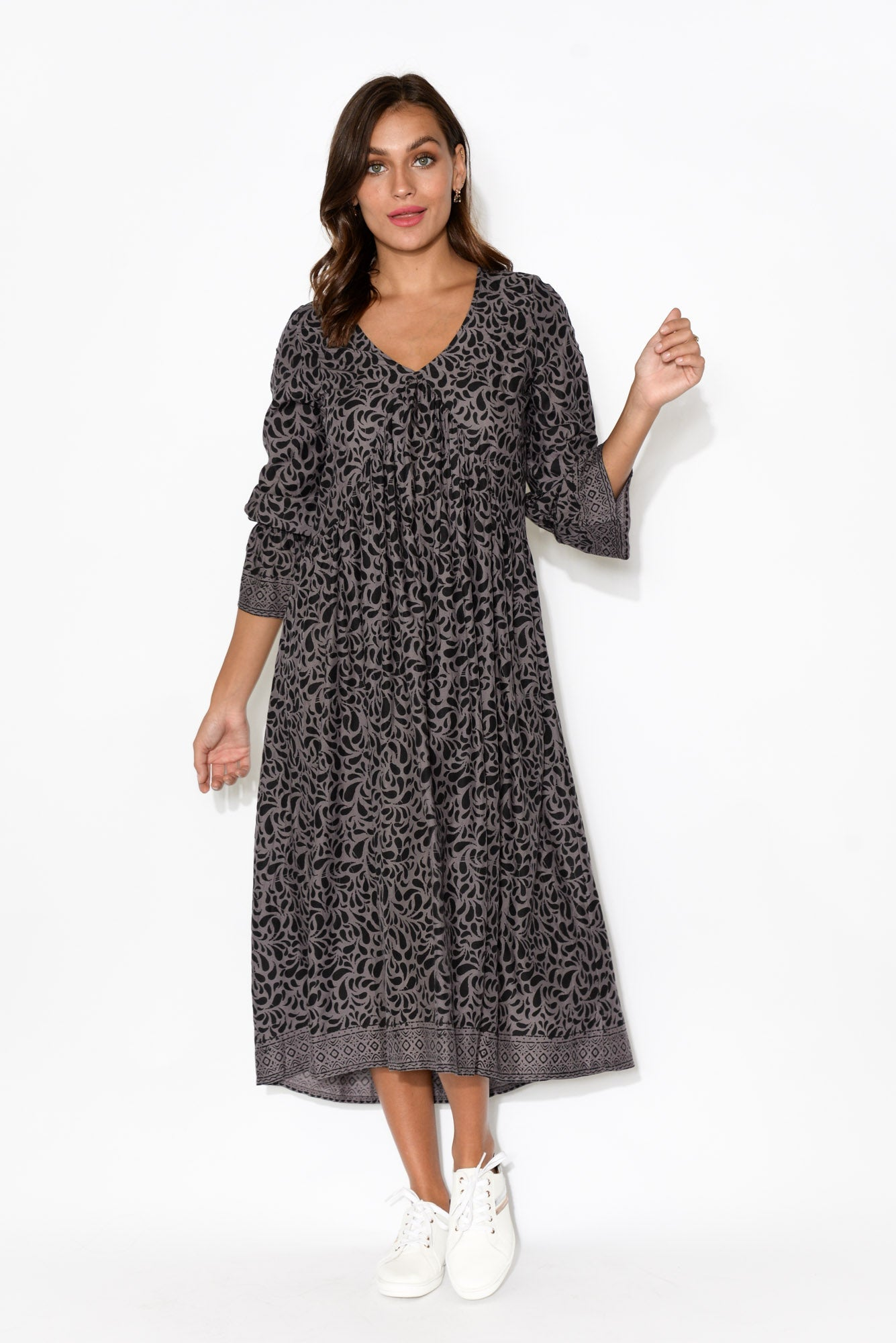 Kerena Grey Paisley Gather Front Dress