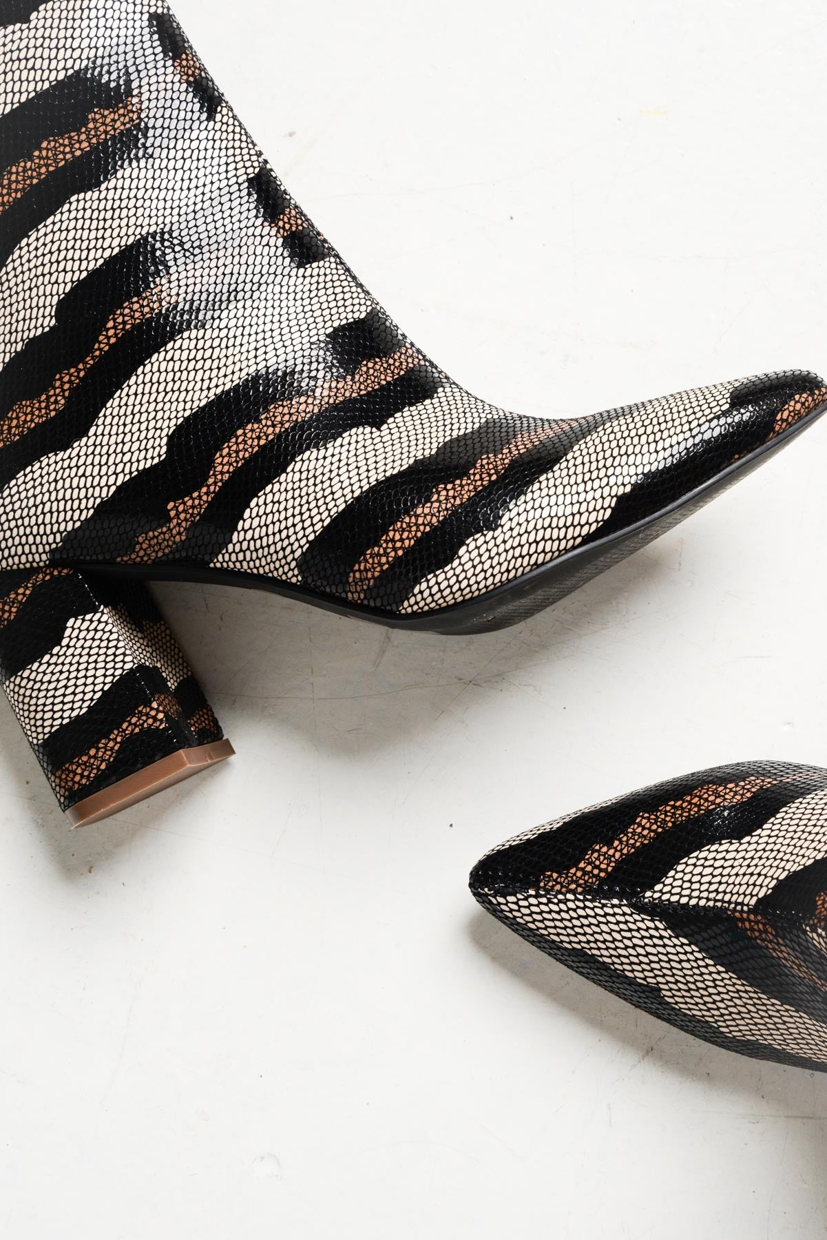 Kingston Python Stripe Leather Boots - Hael and Jax - Blue Bungalow Online